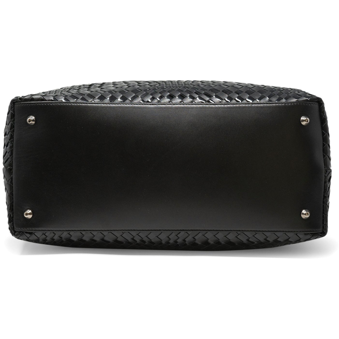 Sophia Maxi Intrecciato Zippered Bag in Black Patent Leather - Jennifer Tattanelli