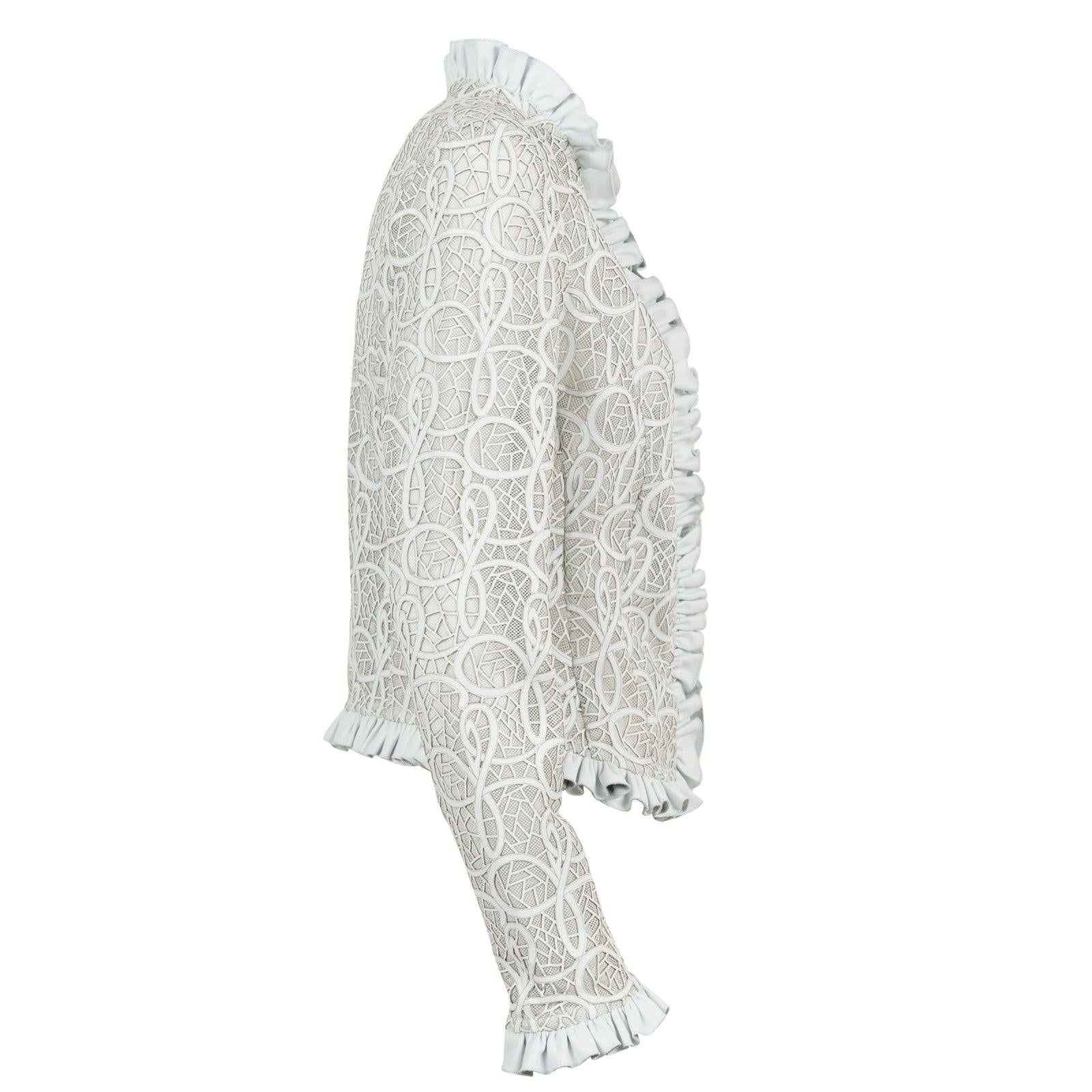 Women's JT Laser-Cut Leather Jacket in White