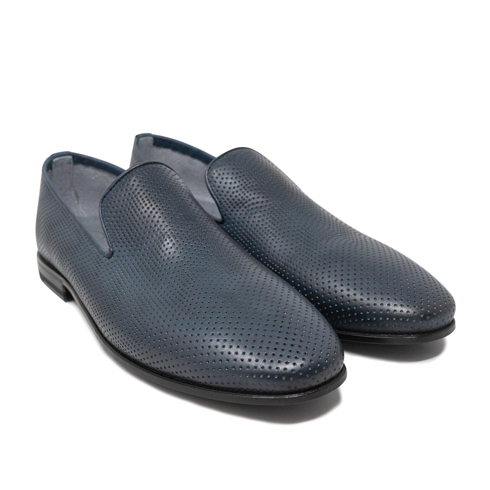 Men Slip On Leather Shoes in Dark Blue Perforated Nappa