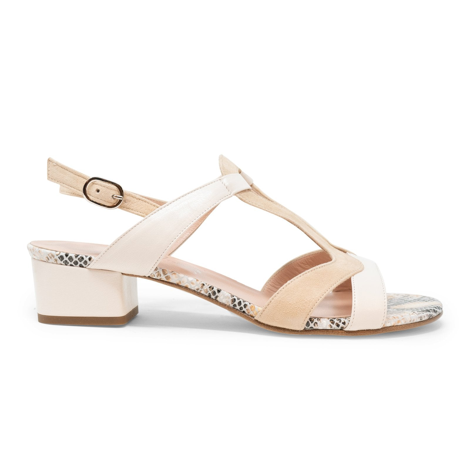 Women Roman Python Sandals in Beige - Jennifer Tattanelli