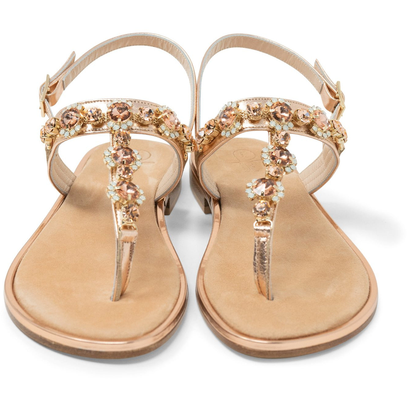 Women Flat Crystal Sandals - Jennifer Tattanelli