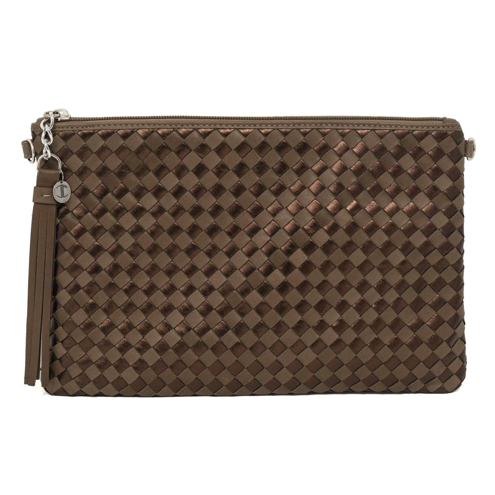 Women Intrecciato Leather Pouch Intrecciato Taupe and Bronze - Jennifer Tattanelli