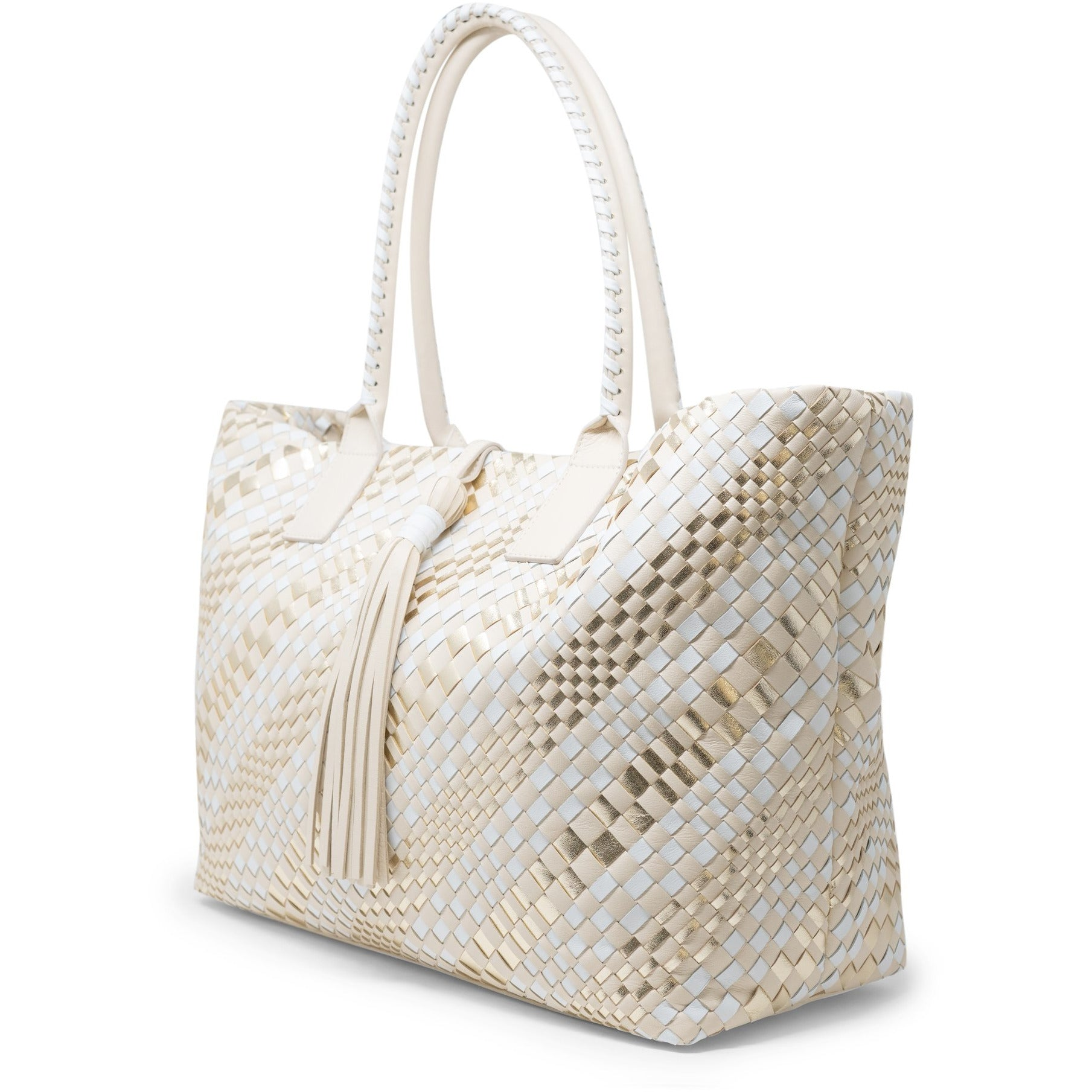 Sophia Maxi Intrecciato Zippered Shopping Bag in Platino