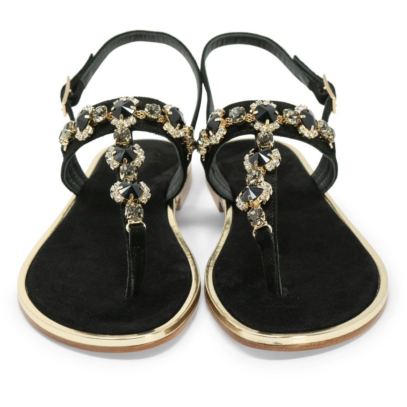 Women Flat Crystal Sandals in Black - Jennifer Tattanelli