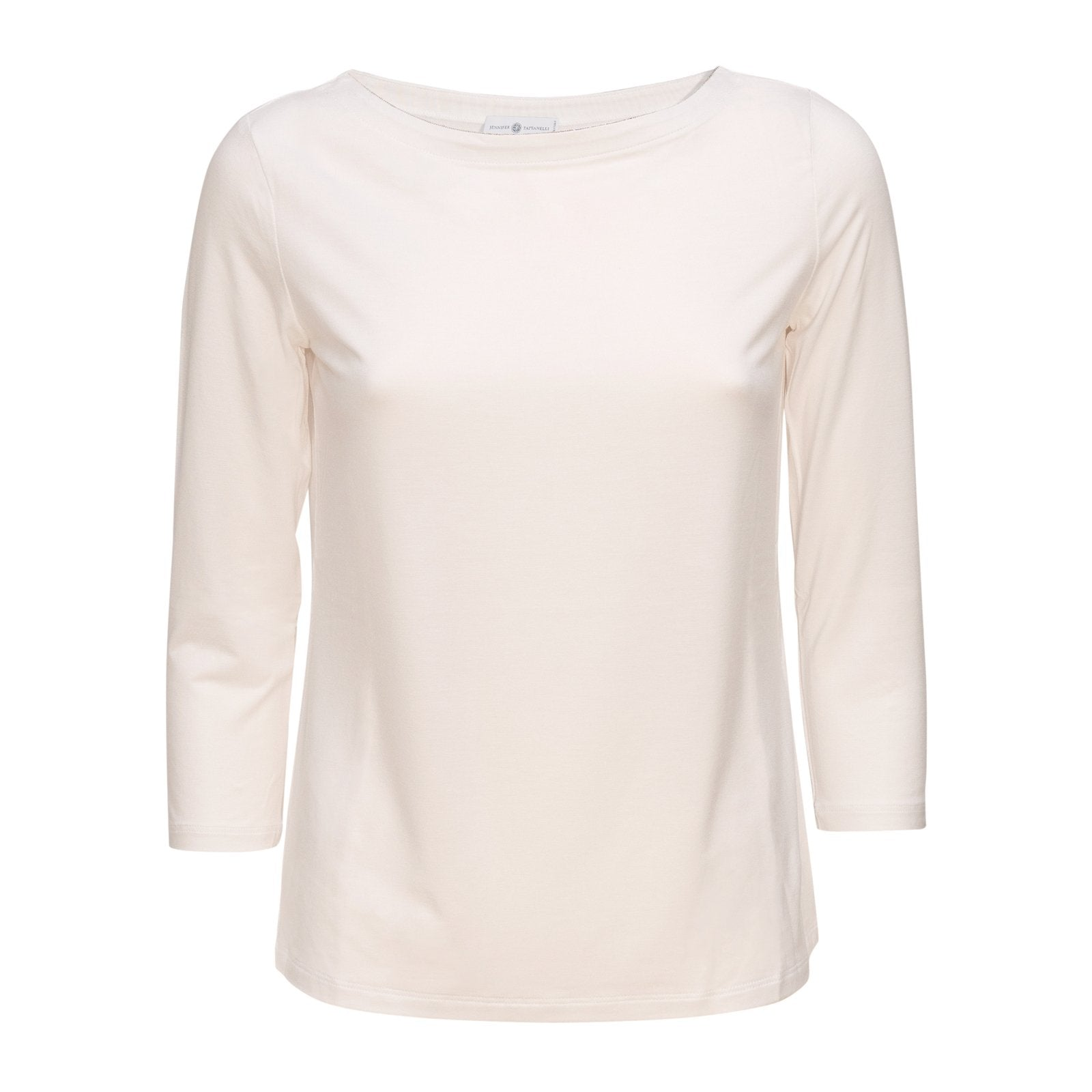 Women Barchetta Neck White Knitwear PUR1242