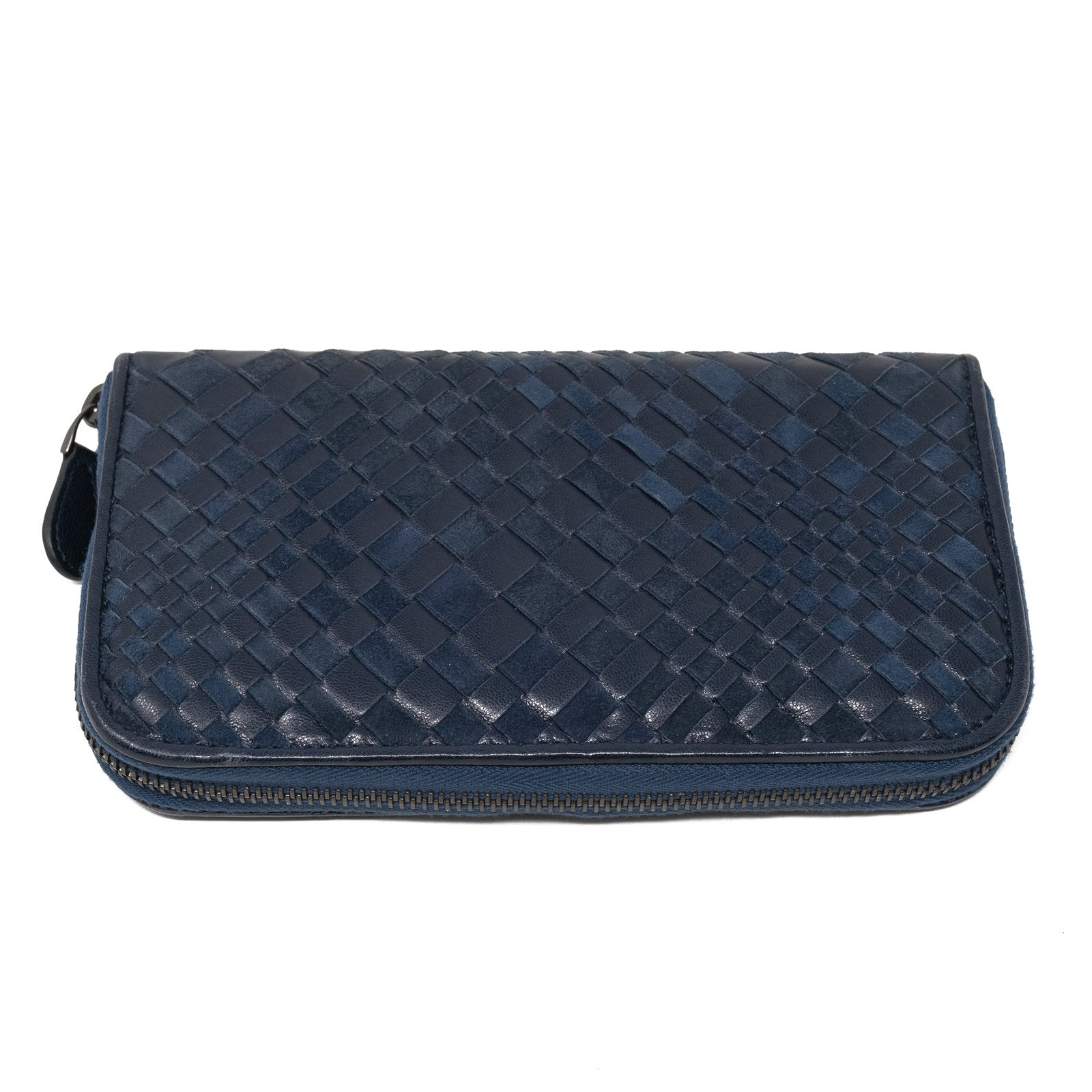 Women Intrecciato Optical Zippered Wallet Blue Nappa and Suede - Jennifer Tattanelli