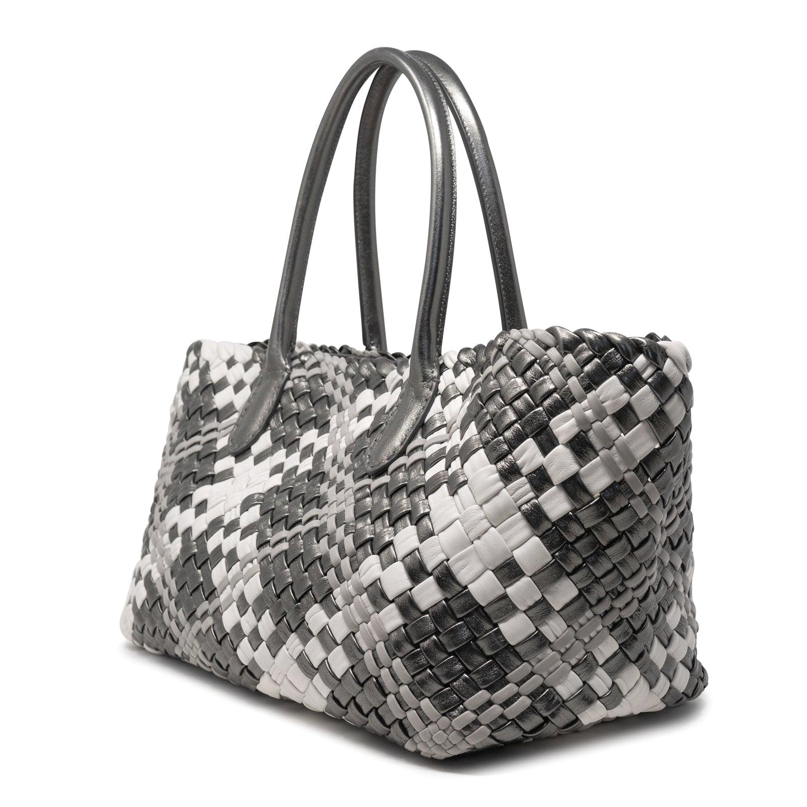 Women Intrecciato Optical Shopping Bag in Gun Metal - Jennifer Tattanelli