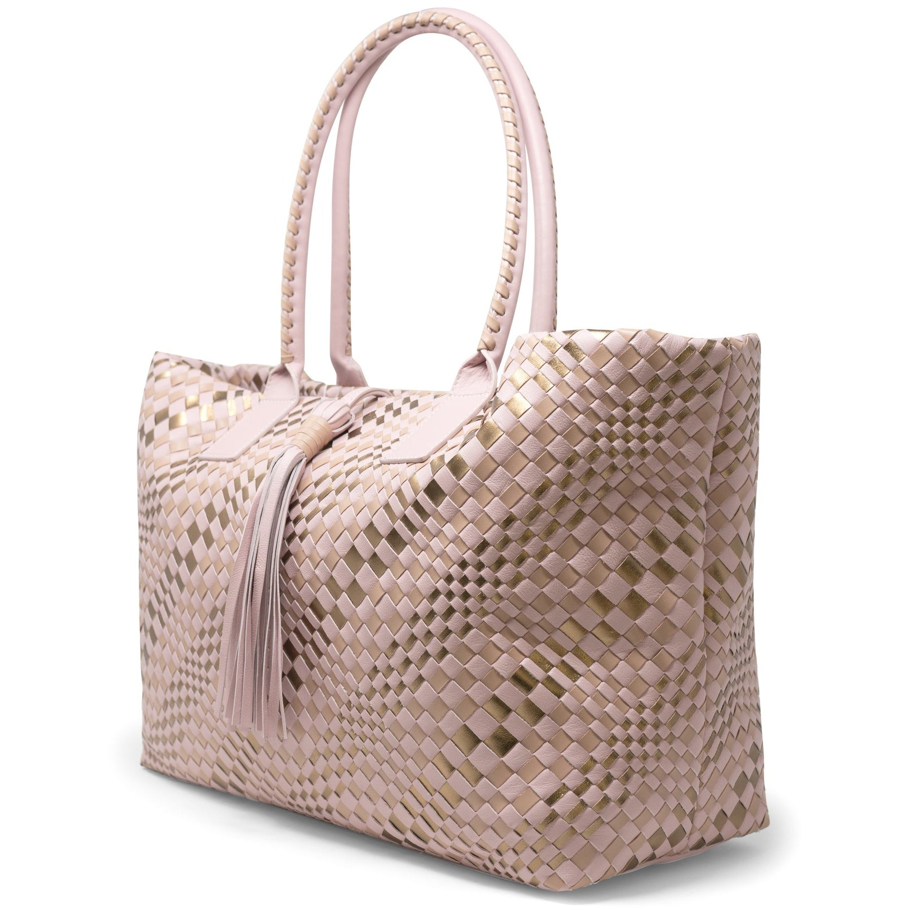 Sophia Maxi Intrecciato Zippered Shopping Bag in Pink