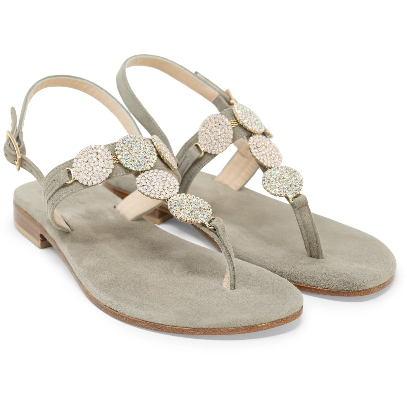 Women Two-Toned Crystal Sandals
