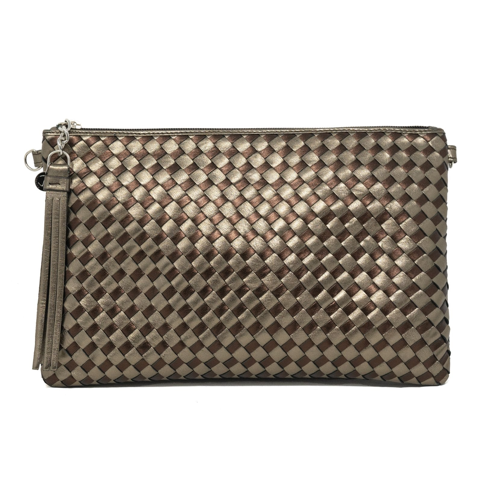 Women Intrecciato Leather Pouch Intrecciato Quadro Copper - Jennifer Tattanelli