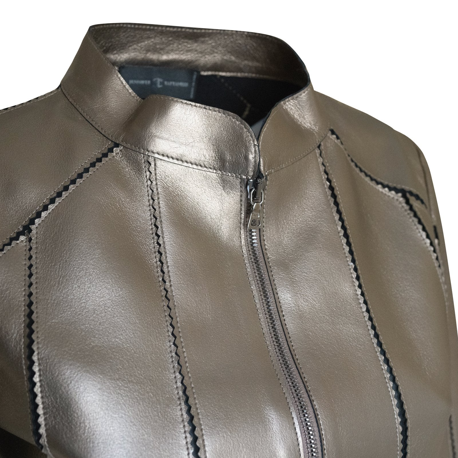 Short Leather Stretch Jacket in Bronze - Jennifer Tattanelli