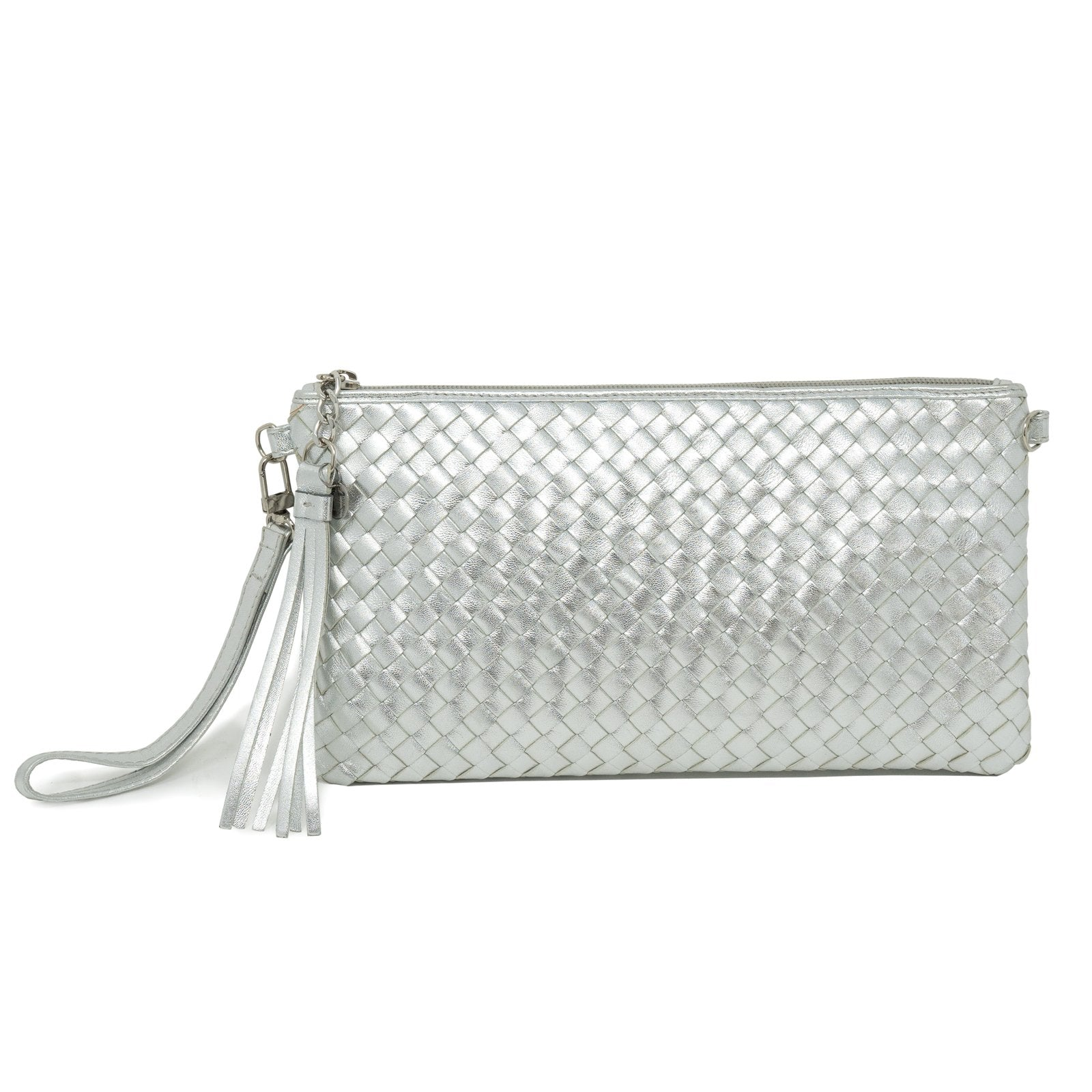 Women Intrecciato Leather Soft Pouch Intreccio Quadro Silver - Jennifer Tattanelli