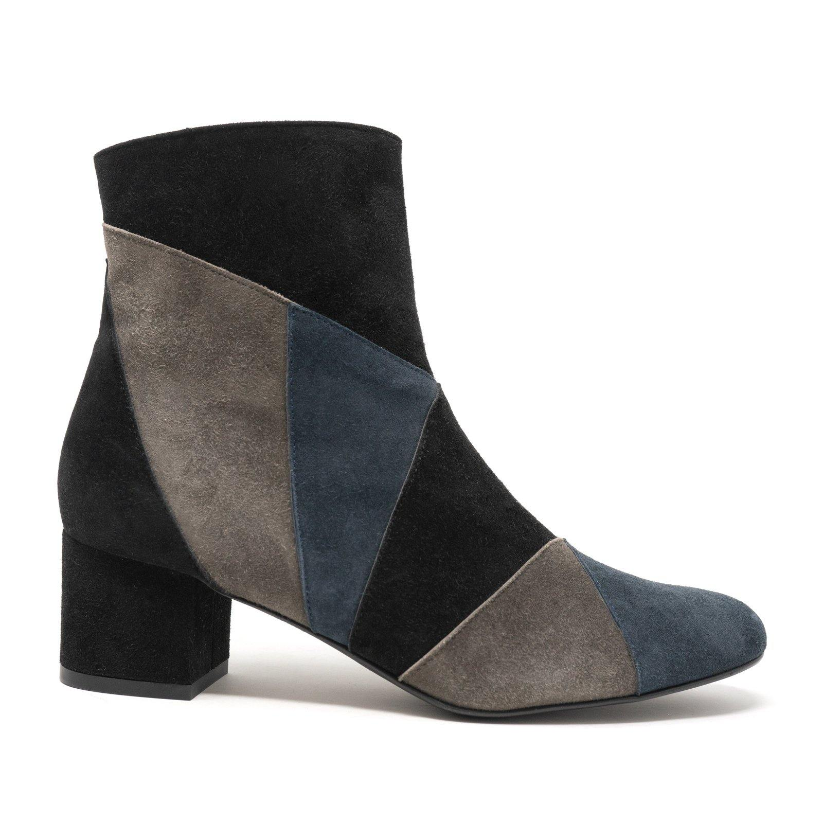 Women Dressy Leather Booties in Black, Blu and Grey