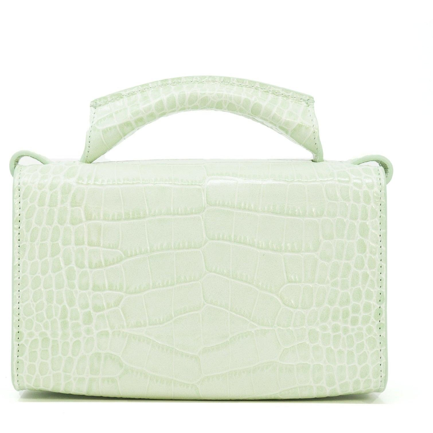 Women Top Handle Printed Crocodile Bag in Green
