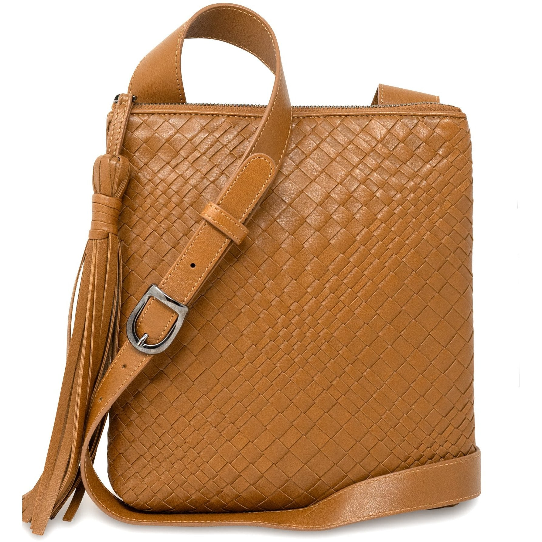 KIM Crossbody Women Bag Intrecciato Optical Nappa Cuoio - Jennifer Tattanelli