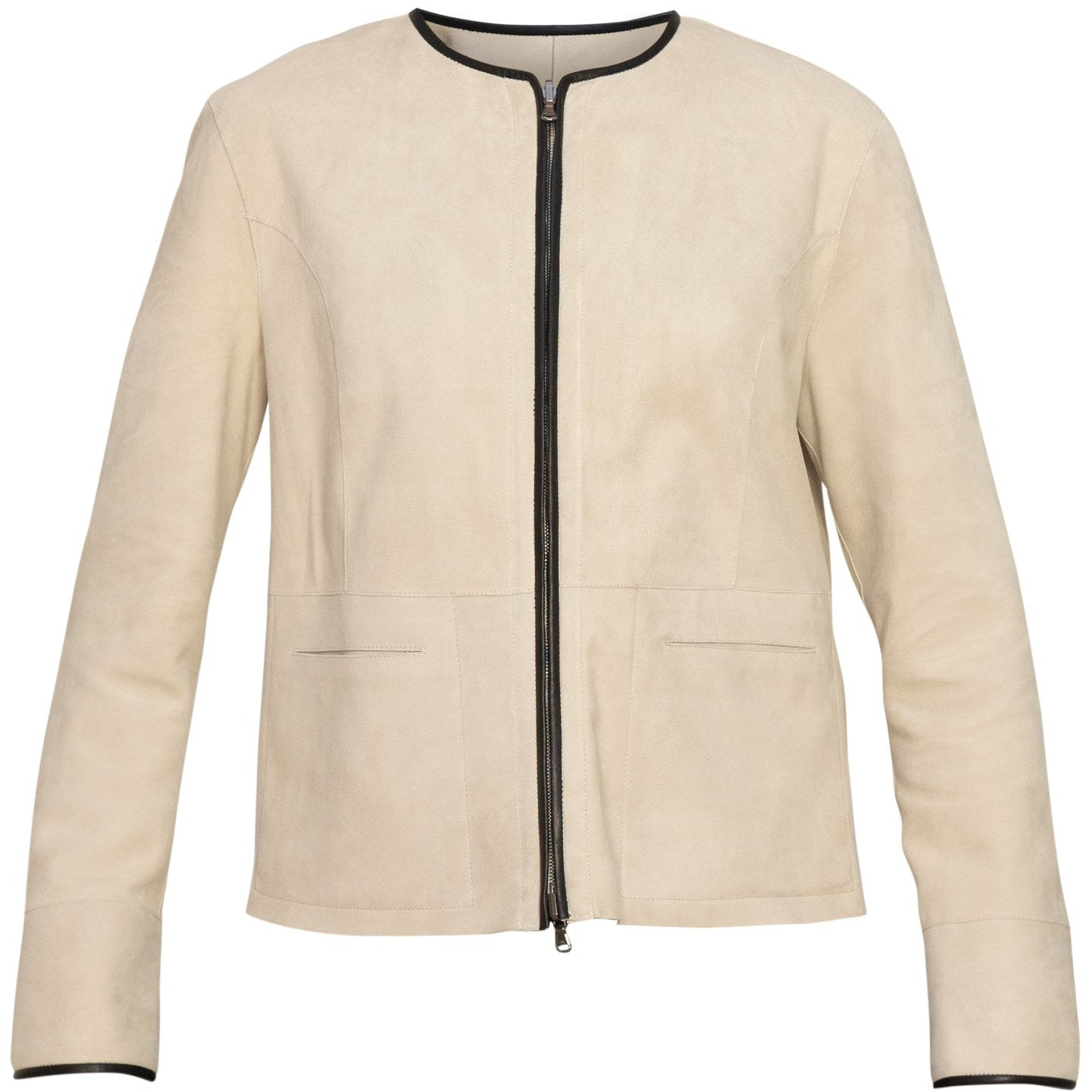 Reversible Short Leather Jacket In Beige - Jennifer Tattanelli