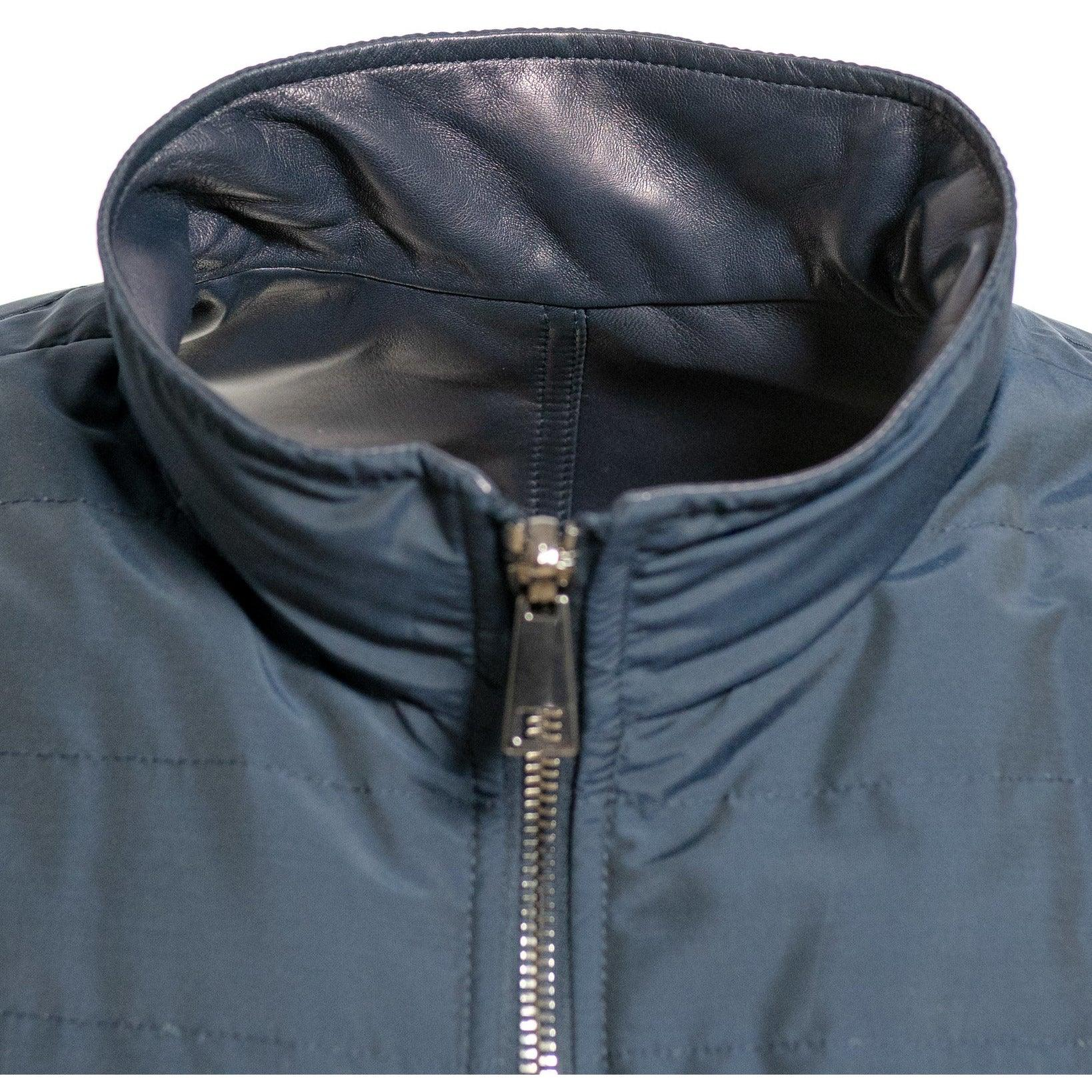 Men Reversible Leather and Down Jacket in Blue