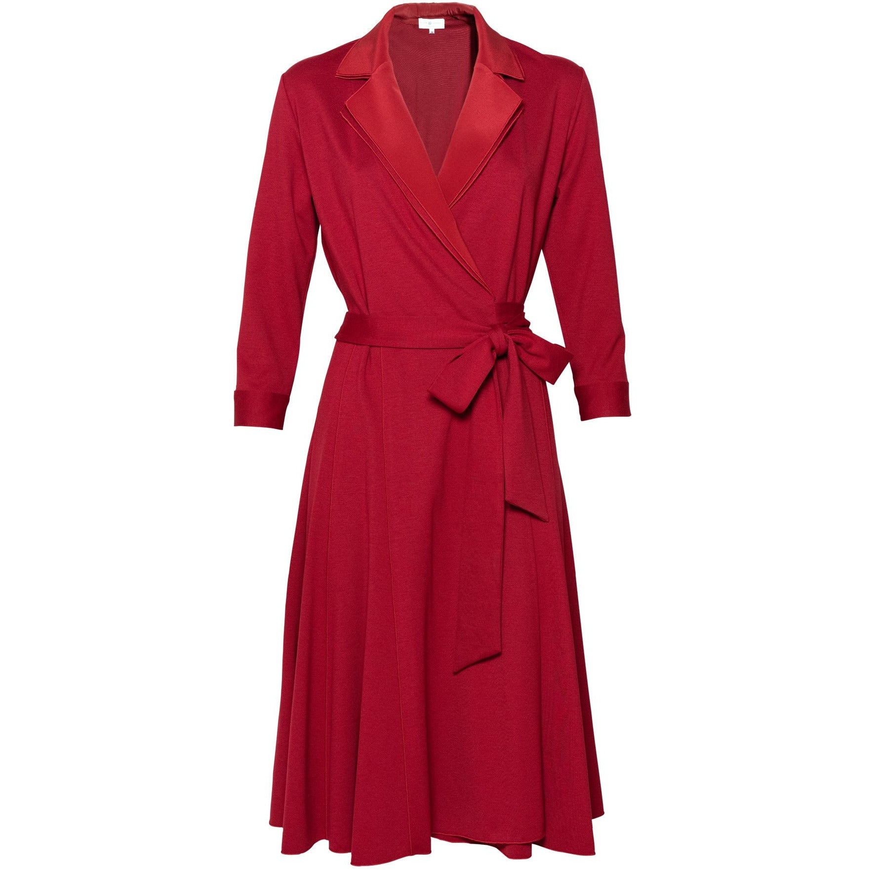 Layered Collar Wrap Dress in Red