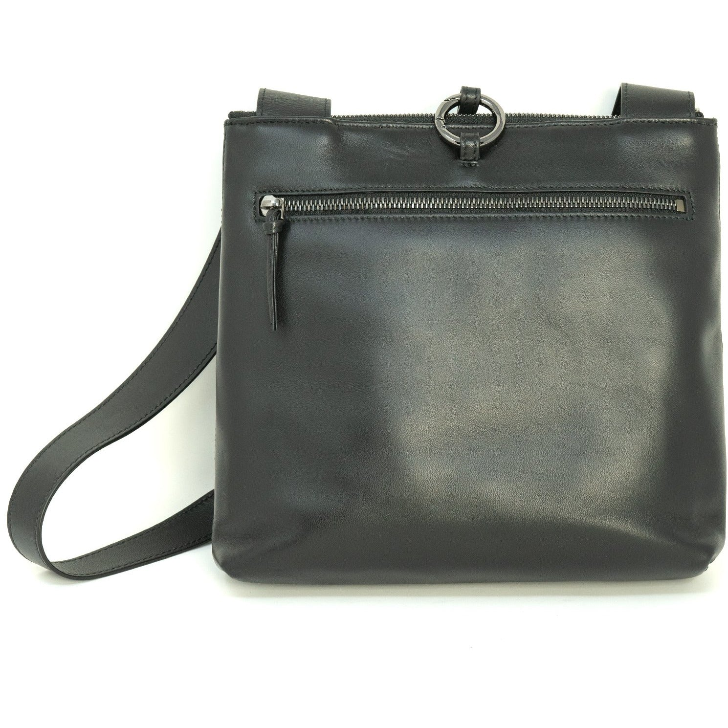 GINGER IS Crossbody Bag Intrecciato Optical Patent Black Leather - Jennifer Tattanelli