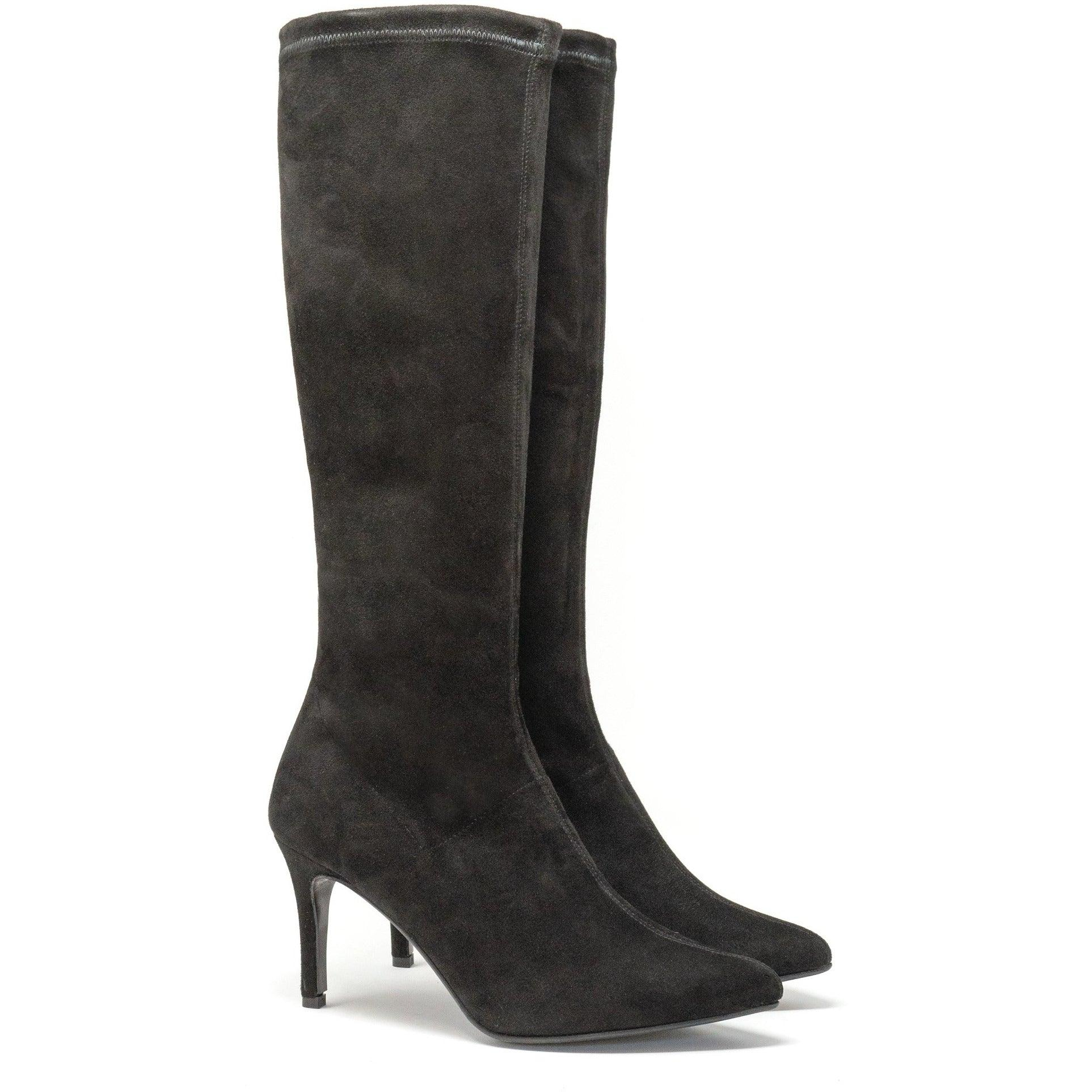Women Suede Sock Boots in Black
