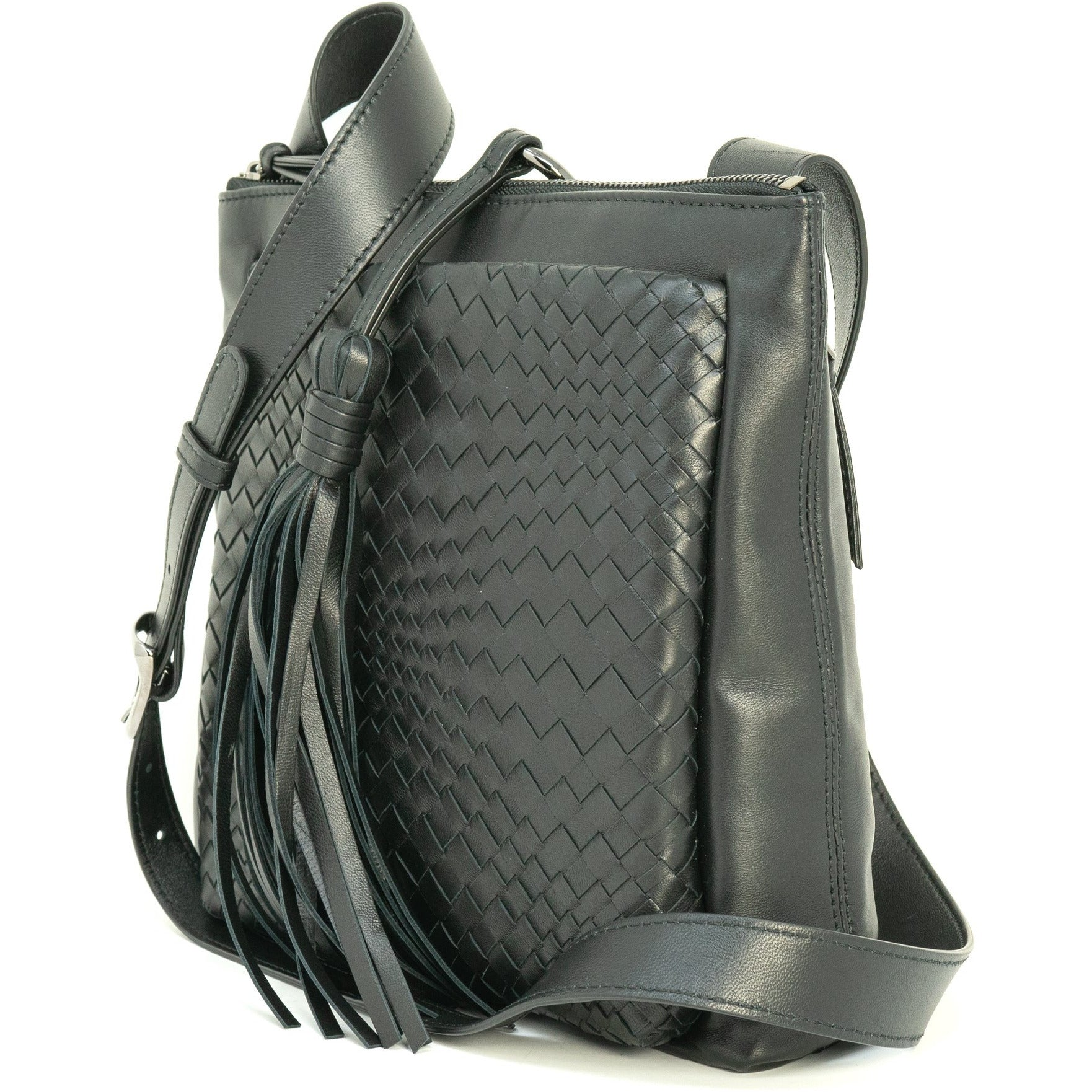 GINGER IS Crossbody Bag Intrecciato Optical Nappa Black - Jennifer Tattanelli