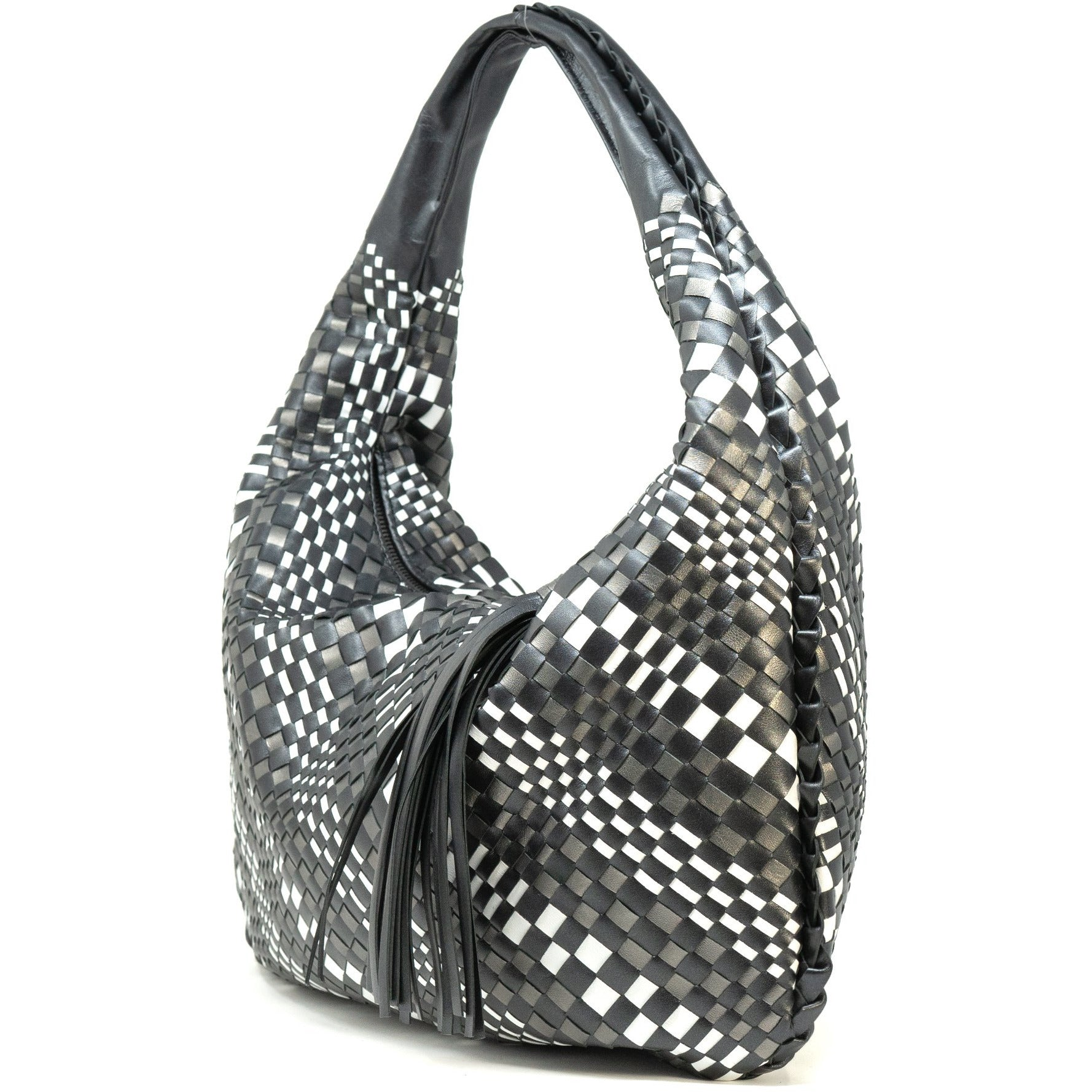 Brigitte Is Women Intrecciato Hobo Bag in Pearled Black - Jennifer Tattanelli