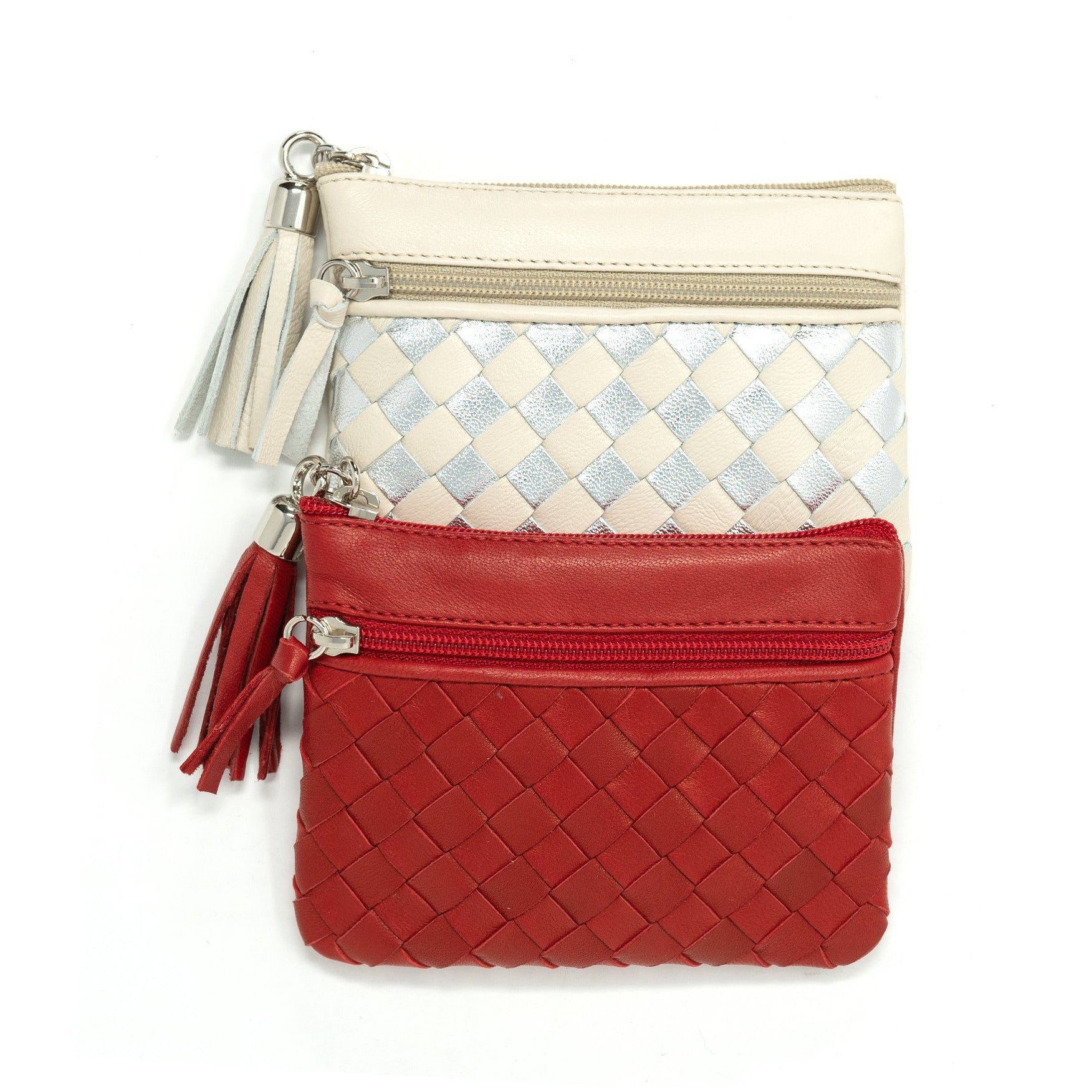 Women Intrecciato Leather Zippered Wallet and KeyChain LUC457 - Jennifer Tattanelli