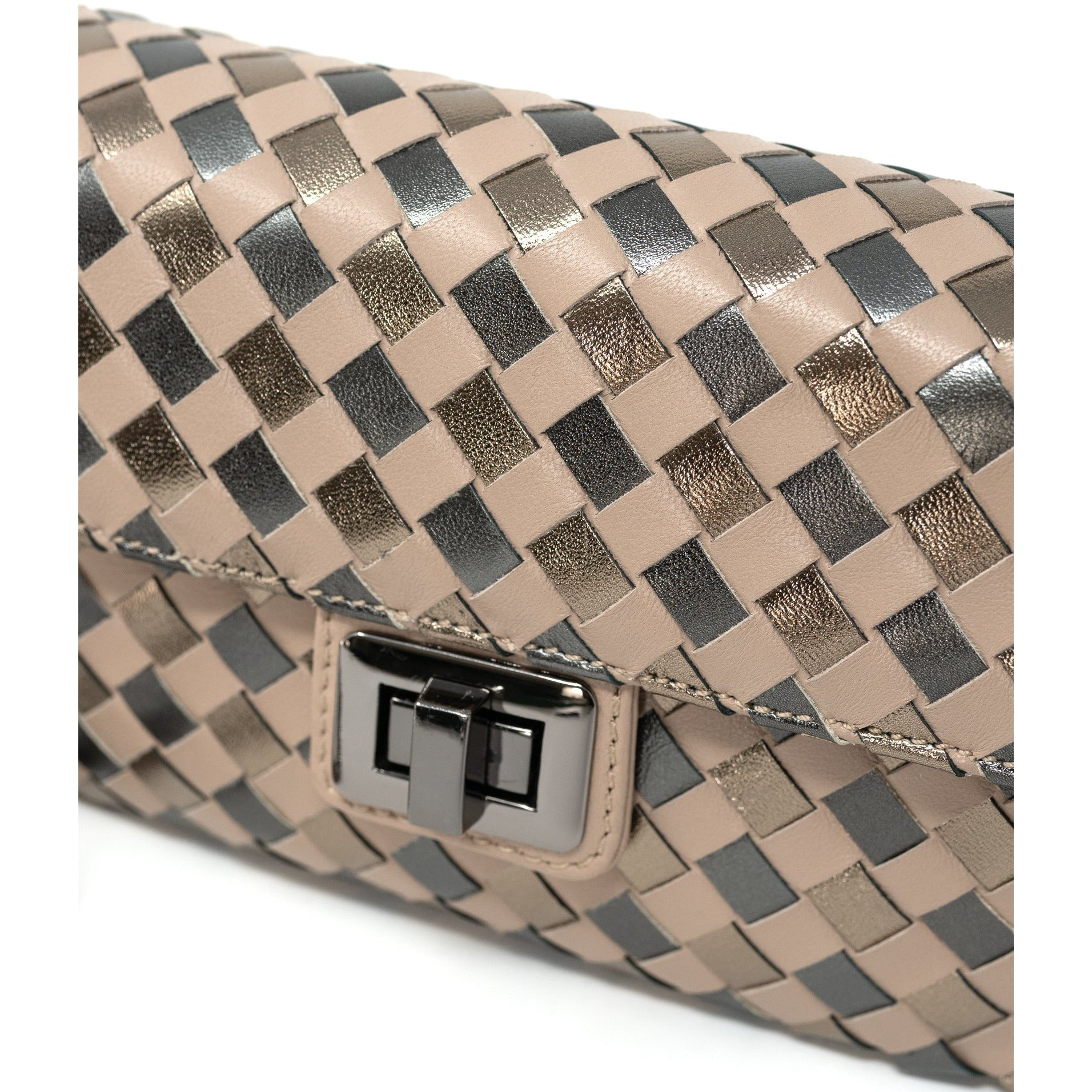 ART Chicca L Intreccio Quadro Leather Clutch - Jennifer Tattanelli