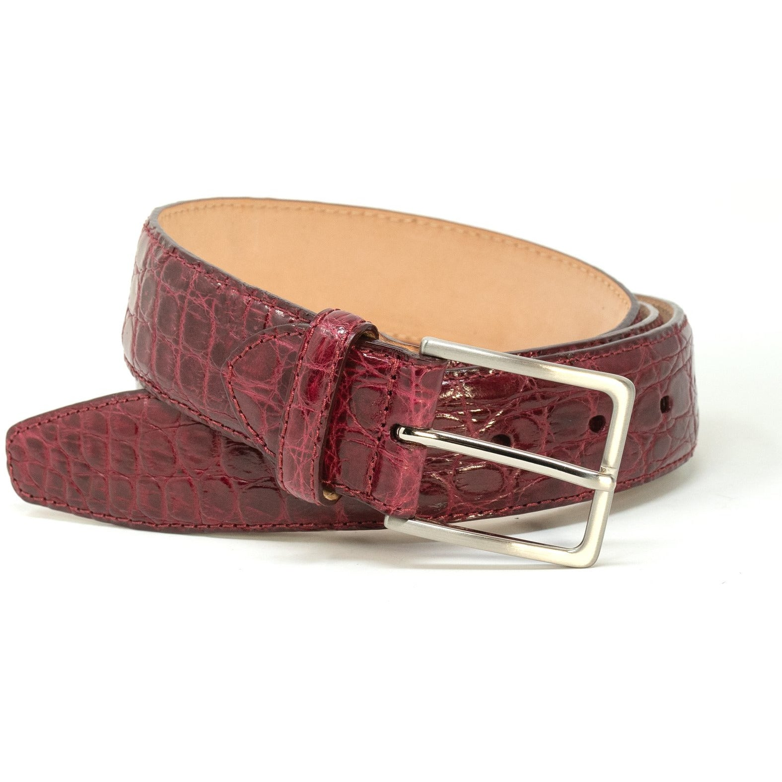 Burgundy Crocodile Leather Belt SAN44 107 - Jennifer Tattanelli