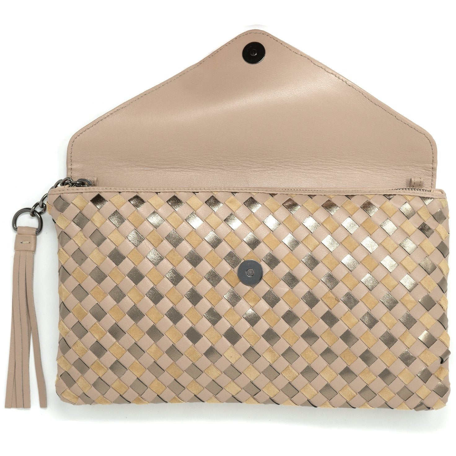 Women Intrecciato Leather Clutch Intrecciato Quadro Beige - Jennifer Tattanelli