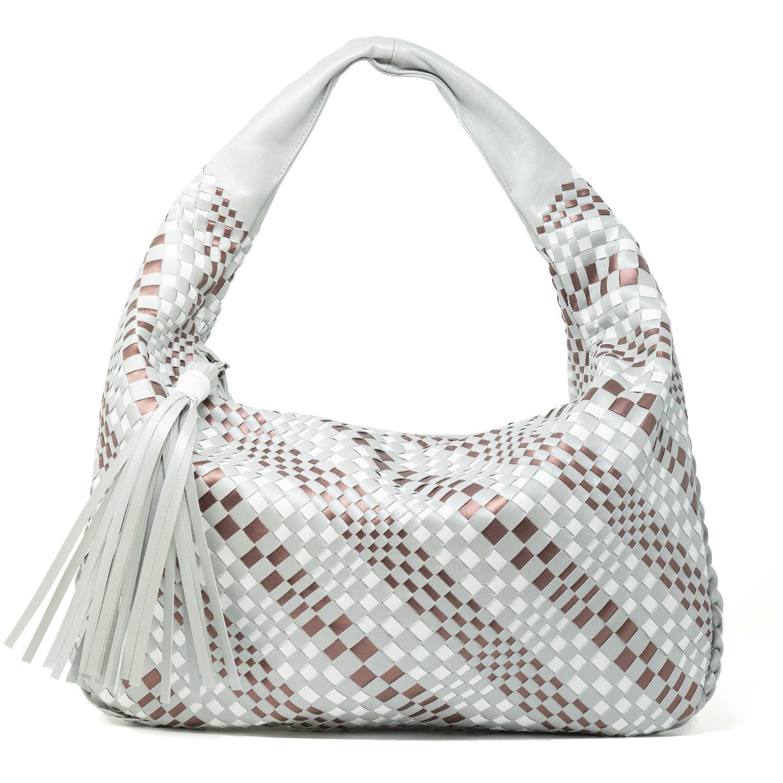 Brigitte Is Women Intrecciato Hobo Bag in Pearlirezed Grey