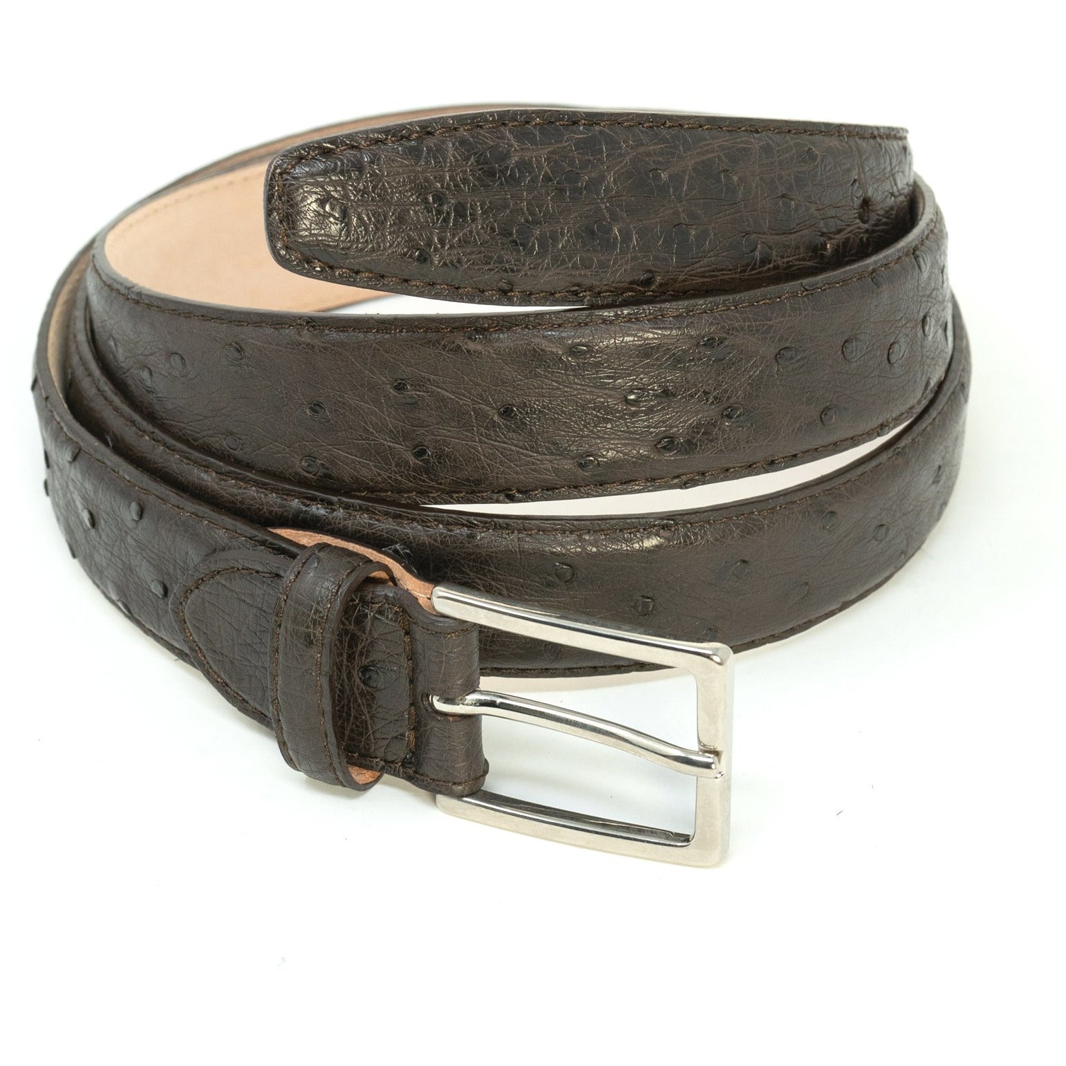 Grey Ostrich Belt SAN50 106 - Jennifer Tattanelli