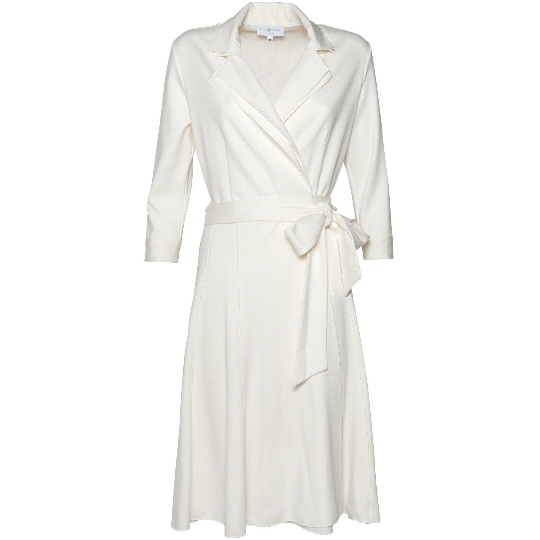 Layered Collar Wrap Dress in White