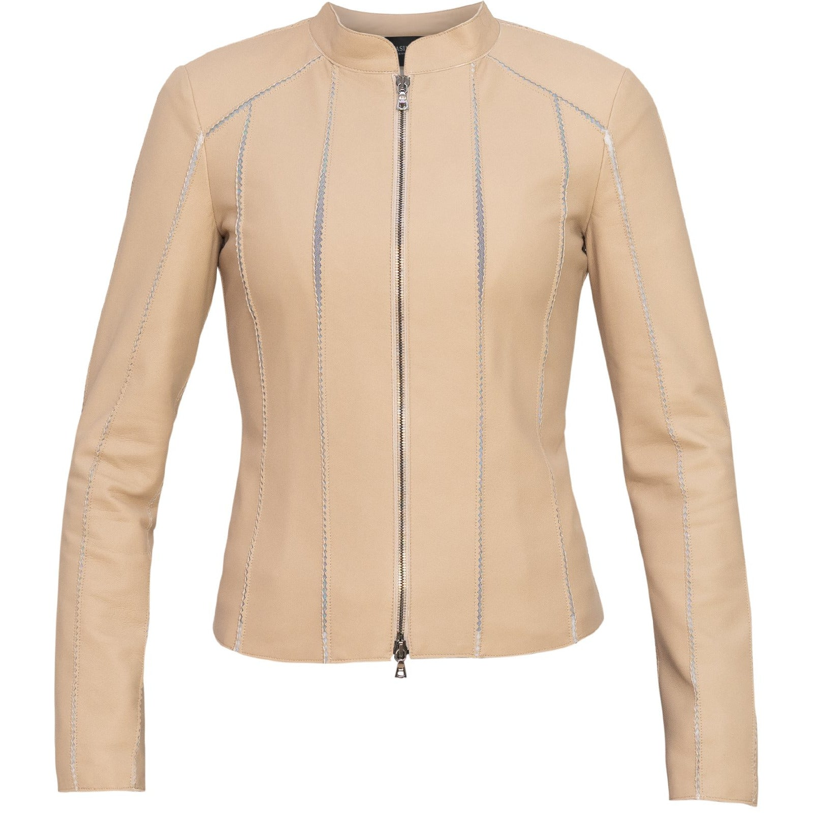 Short Leather Stretch Jacket in Beige - Jennifer Tattanelli