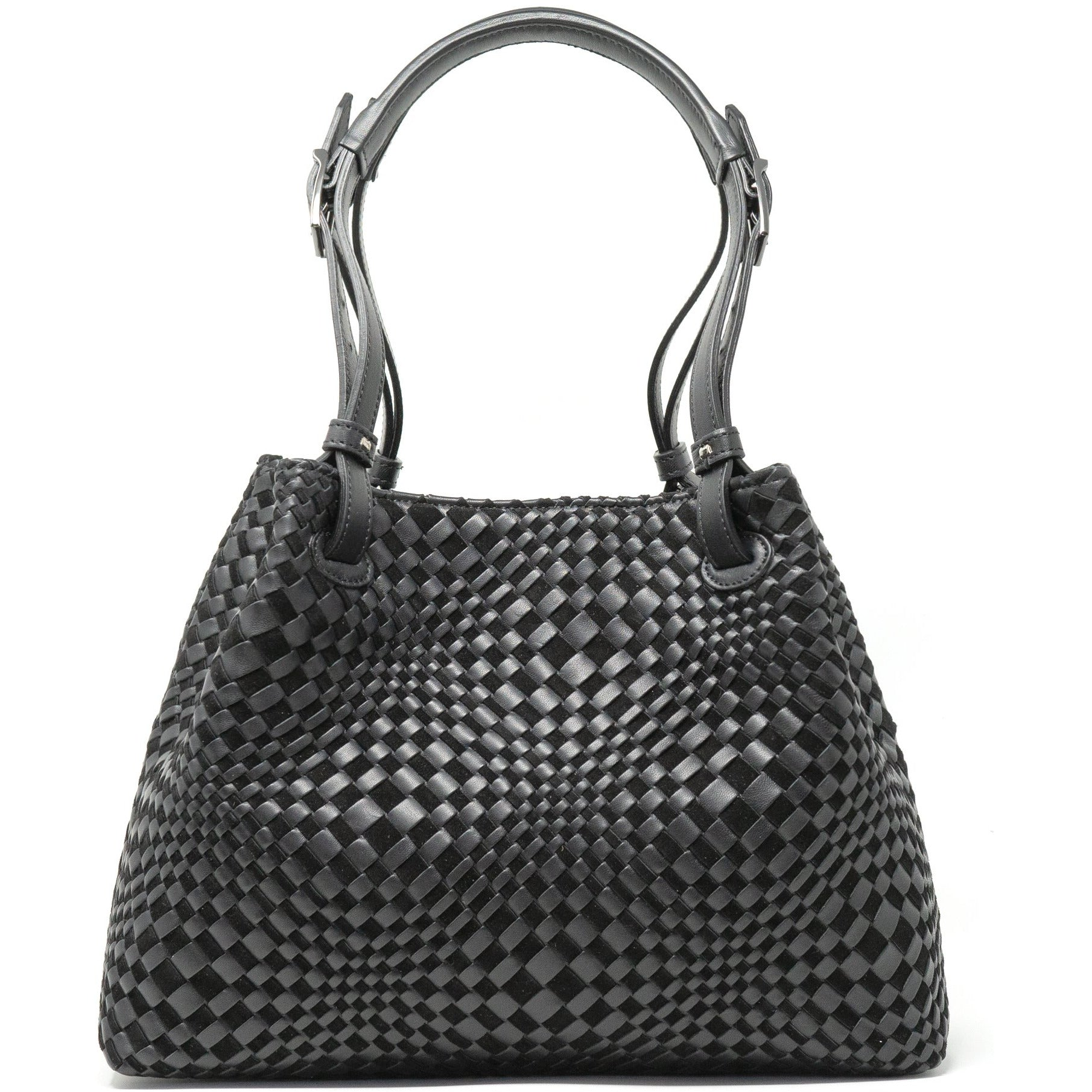 Alessia SM Women Leather Intrecciato Shoulder Bag in Black - Jennifer Tattanelli