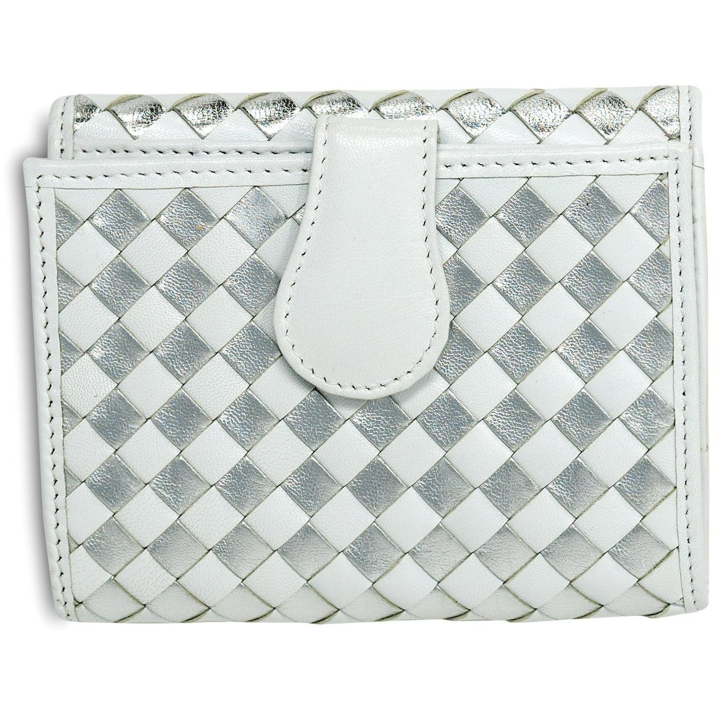 Women Intrecciato Leather Wallet in Nappa White and Silver - Jennifer Tattanelli