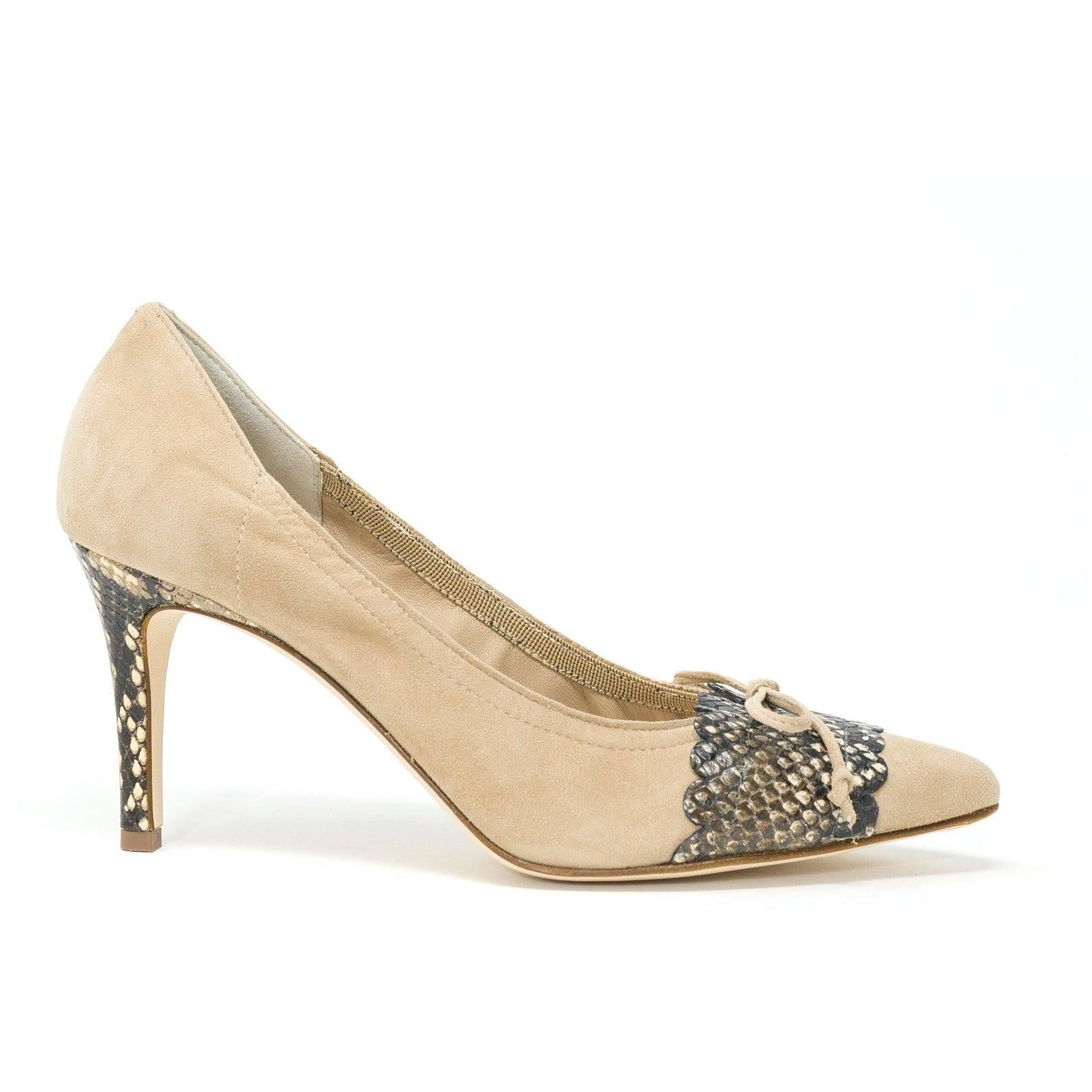 Women Leather Pumps with Python Heel