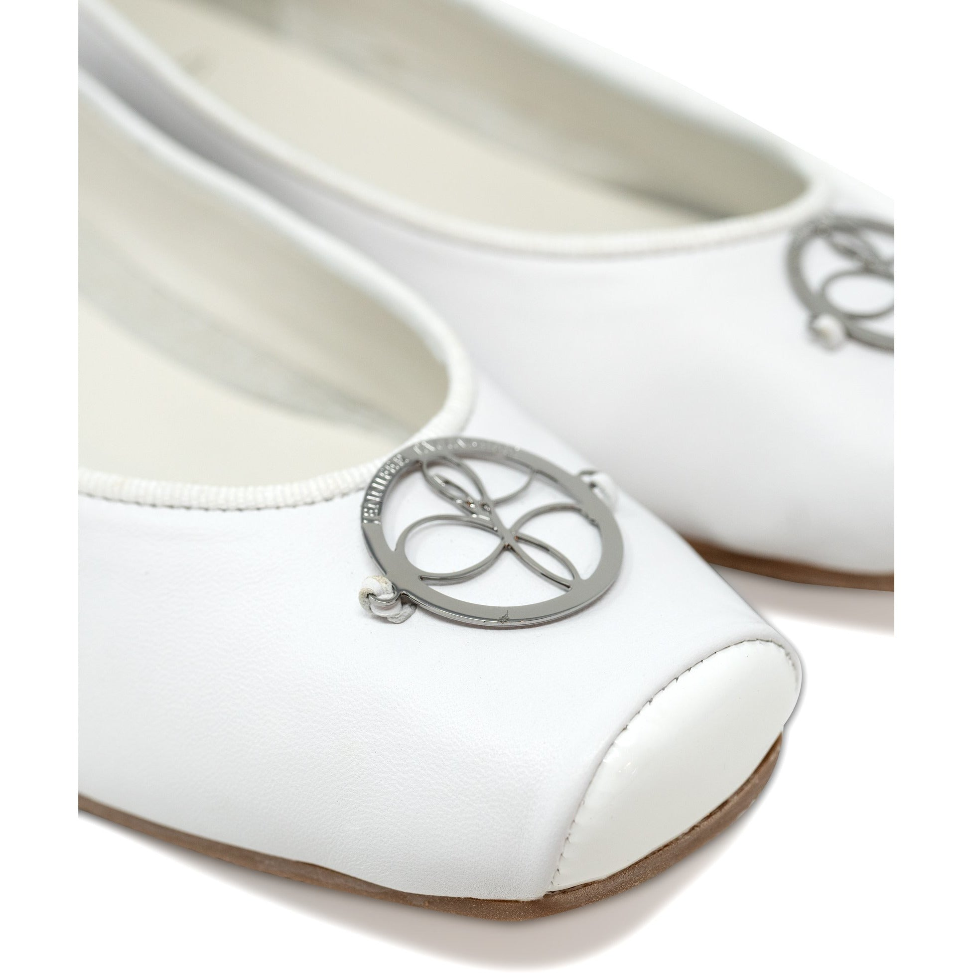 Women Ballerina Shoes with hidden heel in White - Jennifer Tattanelli