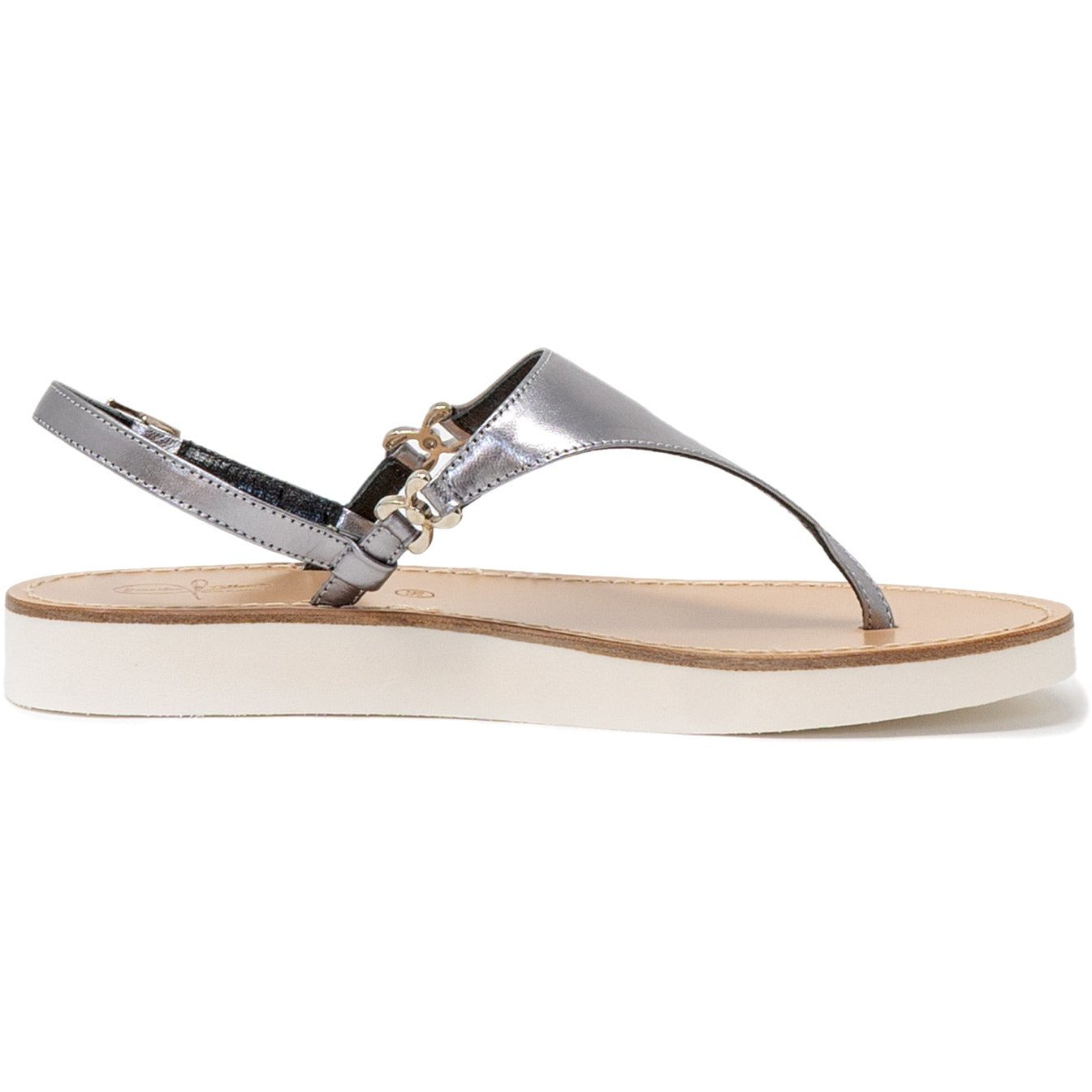 Women Sandals in Silver with white sole