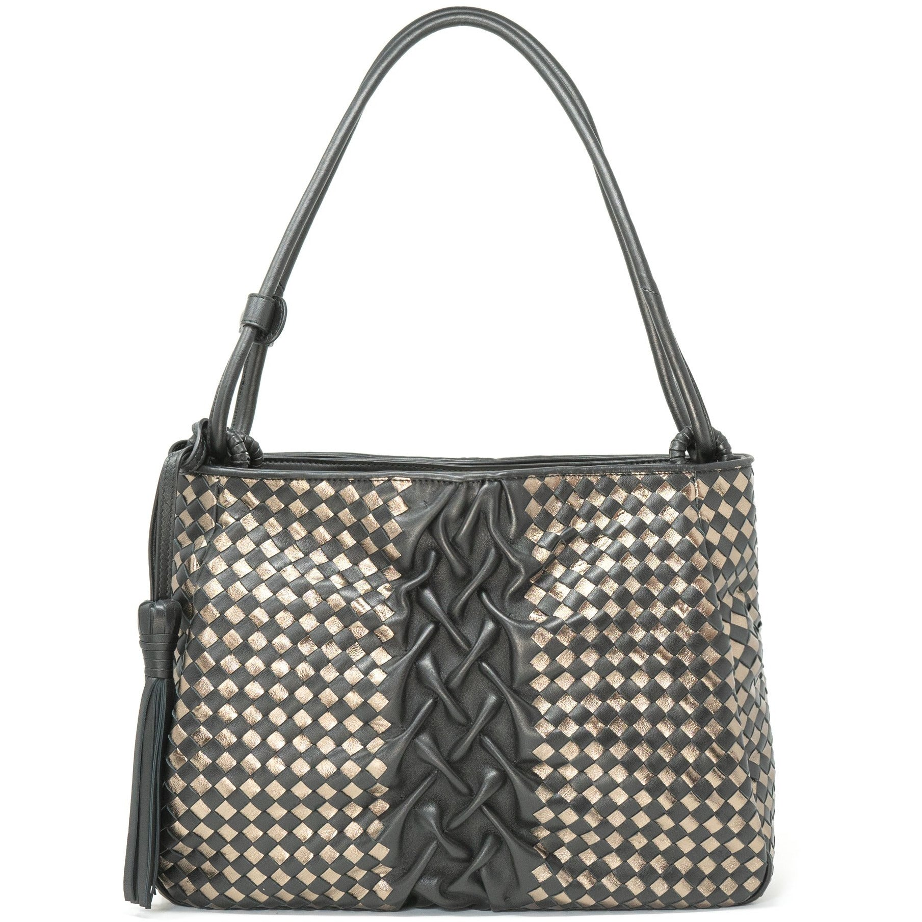 Women Intrecciato Carre Leather Shoulder Bag - Jennifer Tattanelli