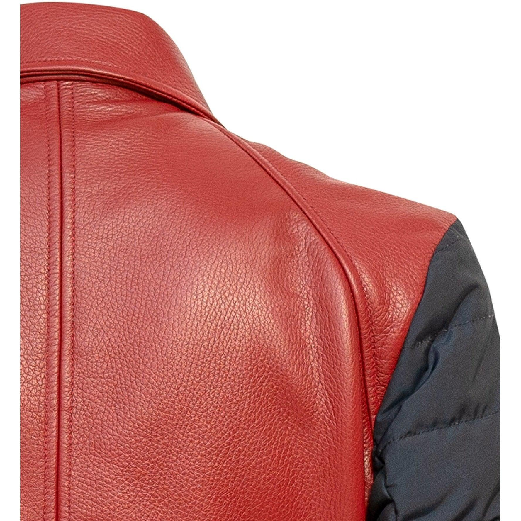 PRG001M Men Leather Jacket in Red