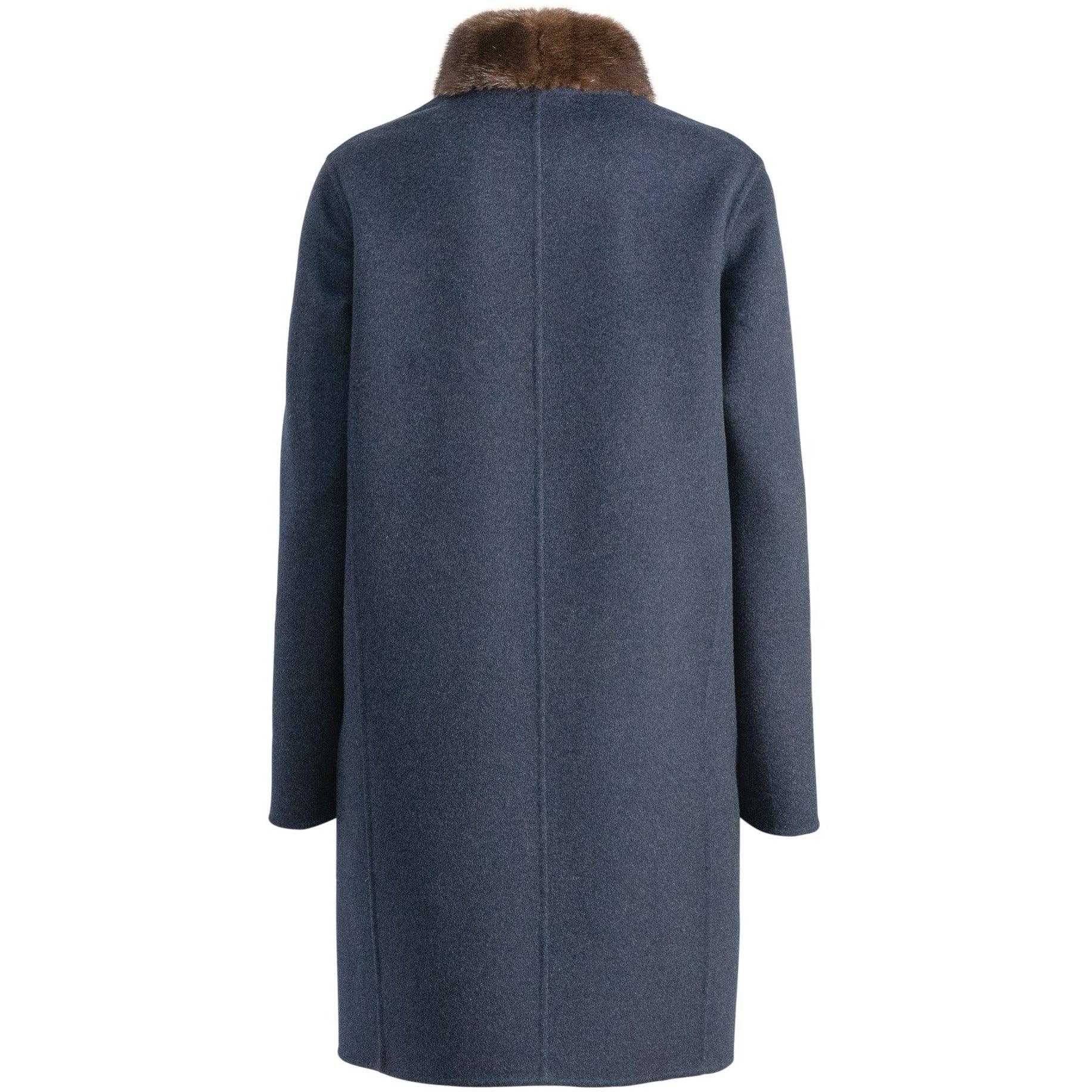 REVERSIBLE CASHMERE LONG COAT WITH MINK COLLAR - ROS2004 New 2020 Collection