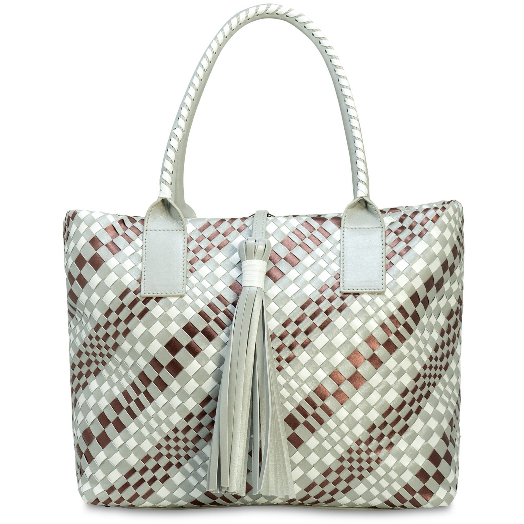 Sophia Intrecciato Zippered Shopping Bag in Pearl Grey - Jennifer Tattanelli