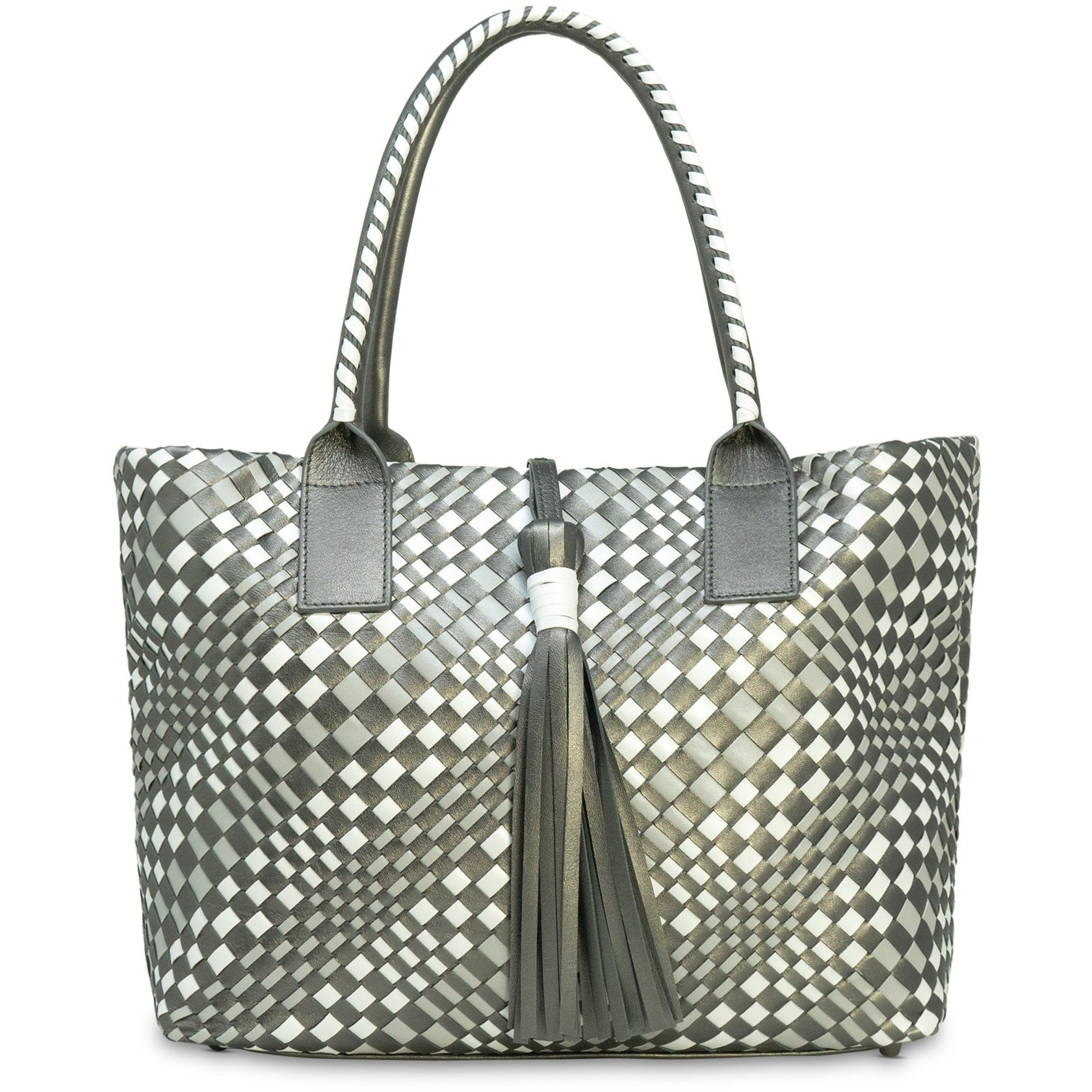 Sophia Intrecciato Zippered Shopping  Bag in Gun Metal - Jennifer Tattanelli