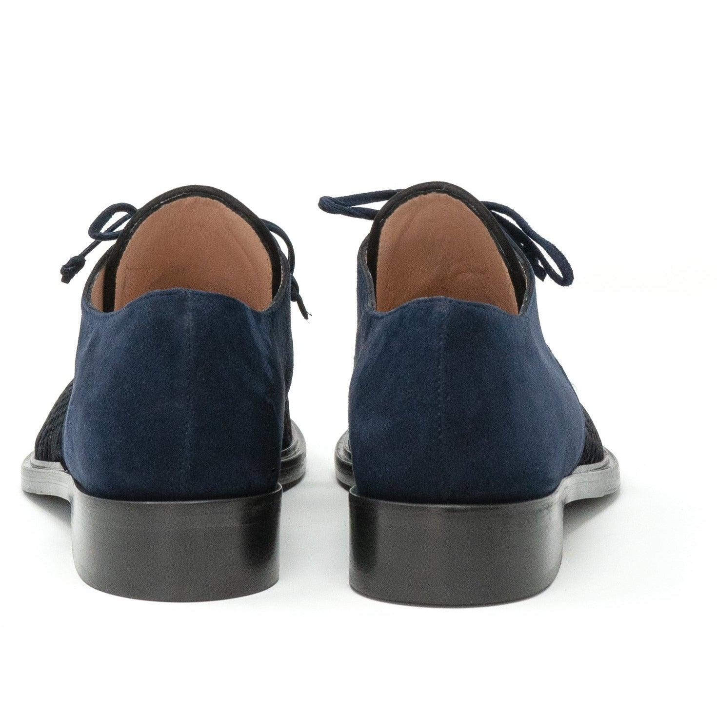 Women's Derby Lace-Up Shoes in Navy Blue