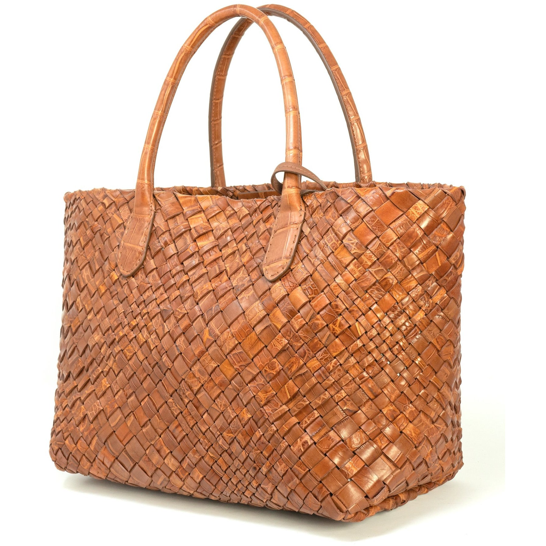 Crocodile Intrecciato Medium Women Leather Tote Bag FALC1693 - Jennifer Tattanelli