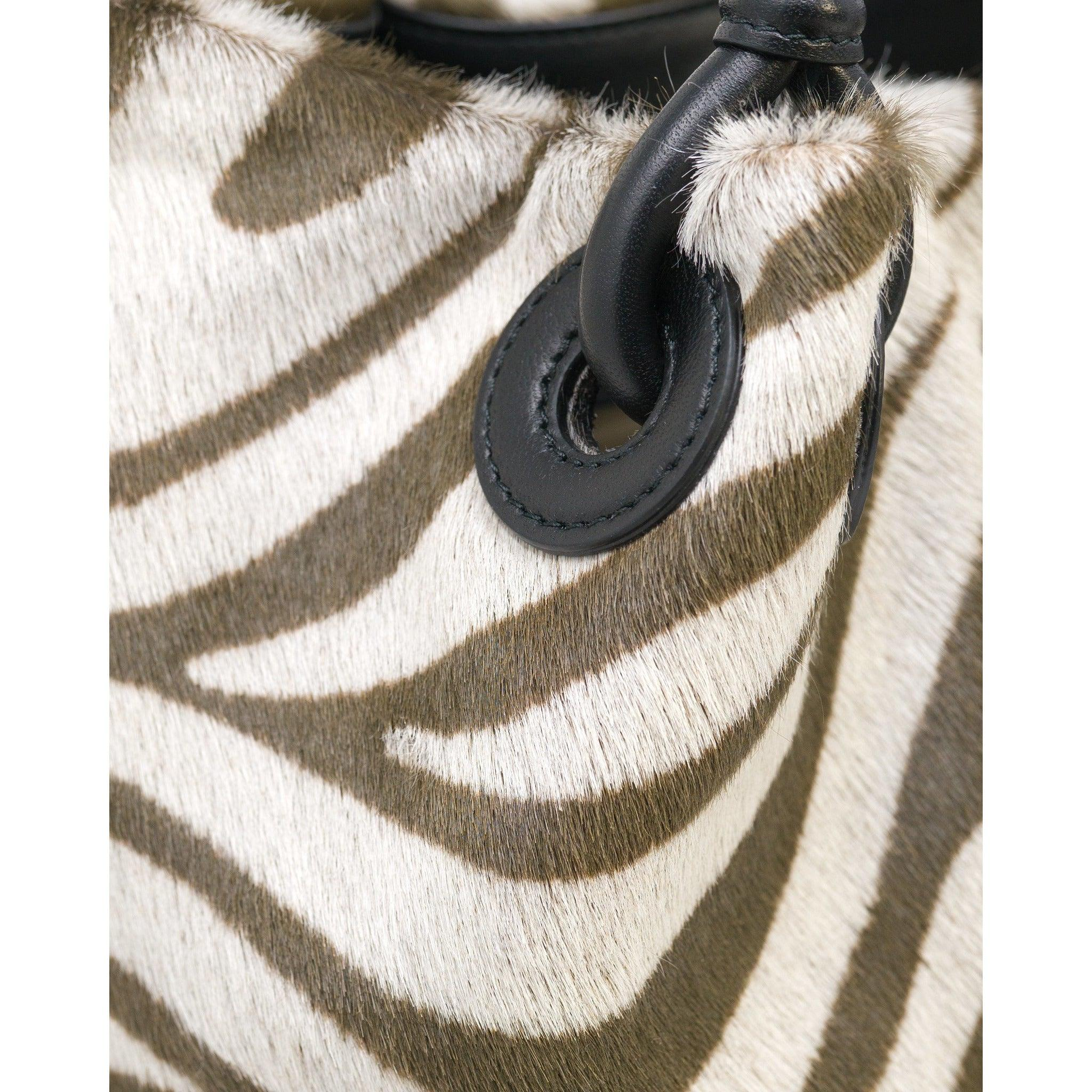 JT304 555230 Zebra Lamb Hair Leather Shoulder Bag - New Fall Winter 2019-2020 Collection
