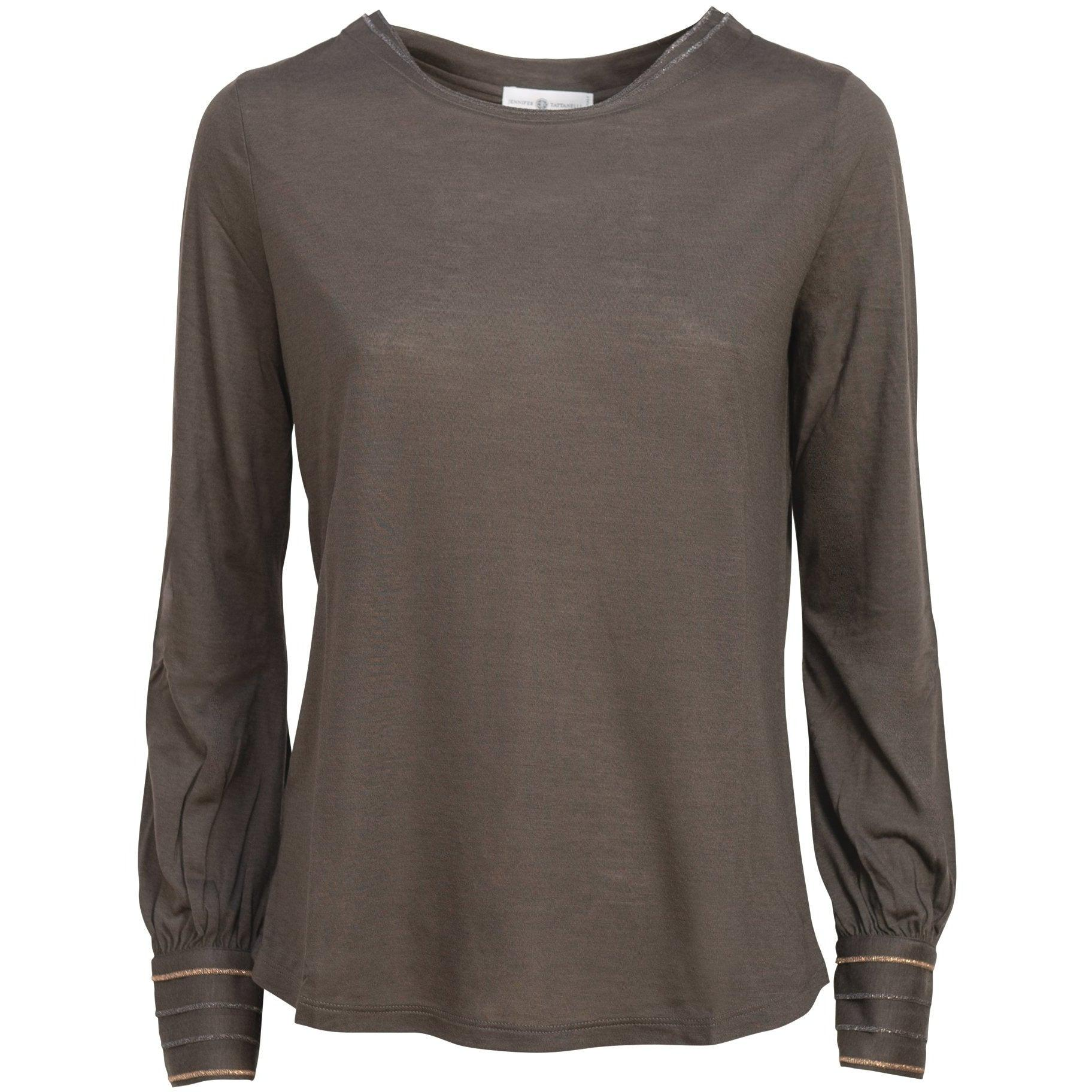 Women Cuffed Sleeve Modal Top in Brown