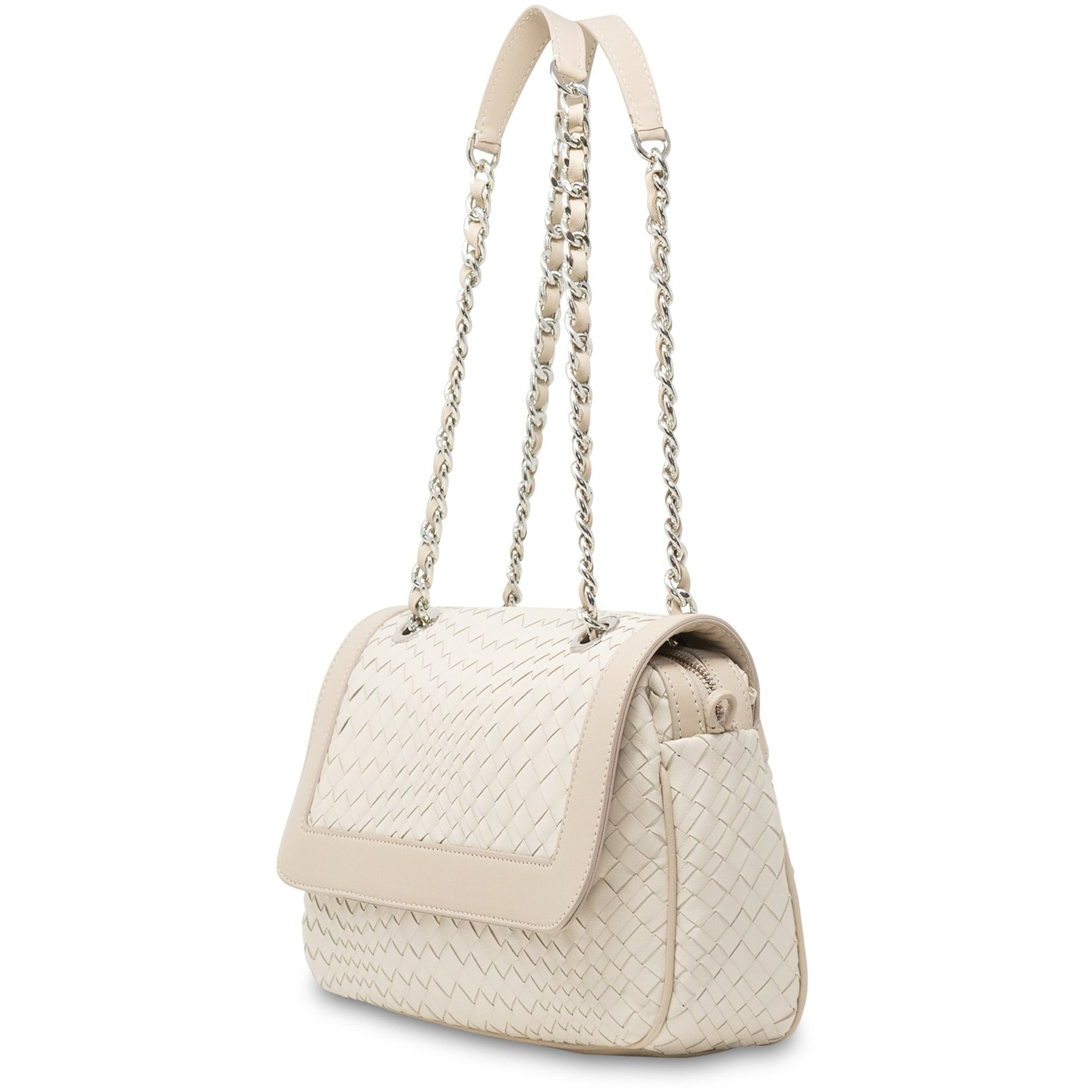 JT313 5571 32 Intrecciato Optical Leather Shoulder Bag in Beige Nappa - Jennifer Tattanelli