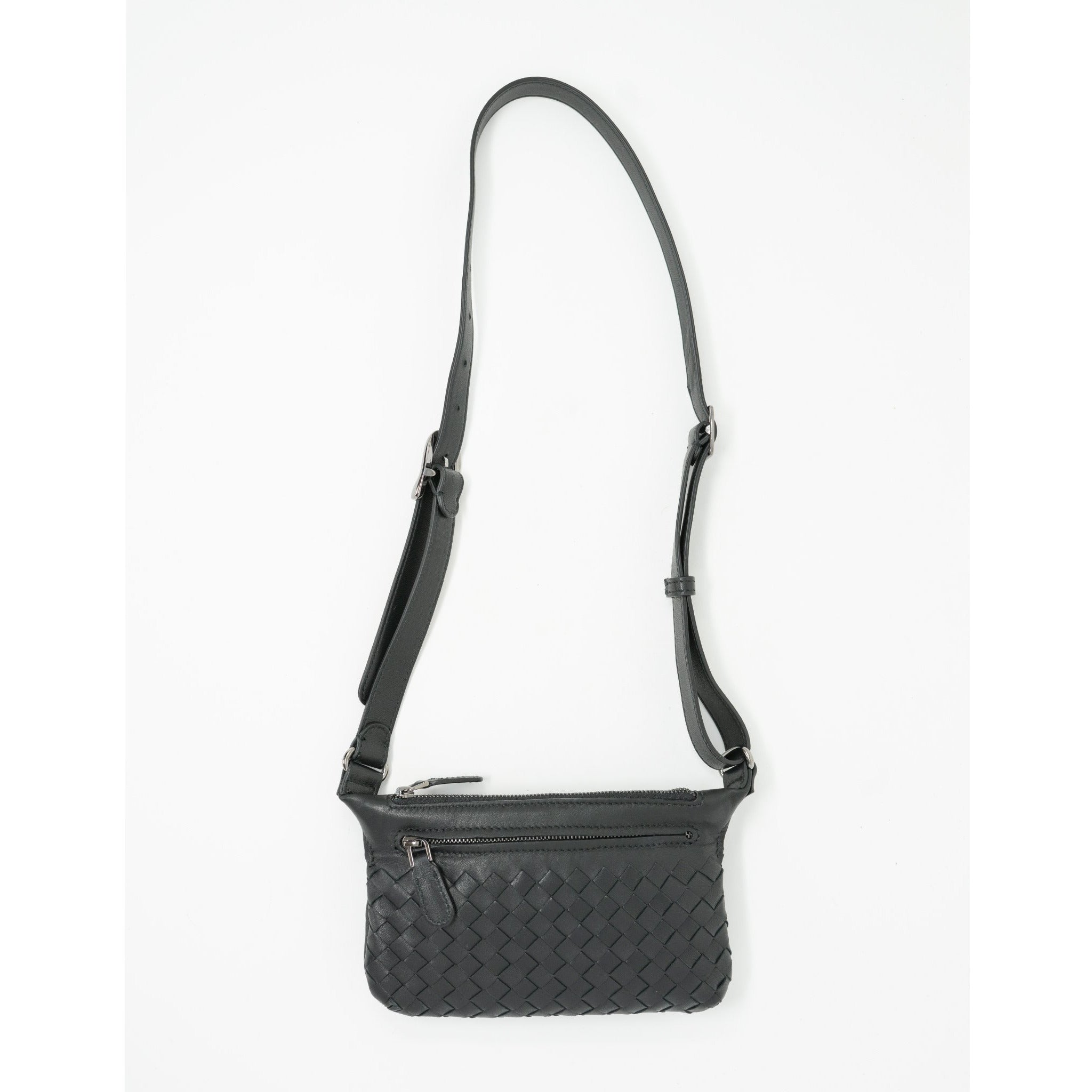JT337 Women Black Intrecciato Nappa Belt Bag - Jennifer Tattanelli